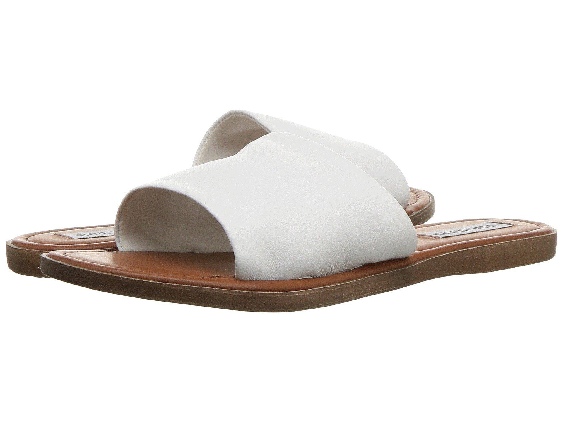 steve madden white flat sandals