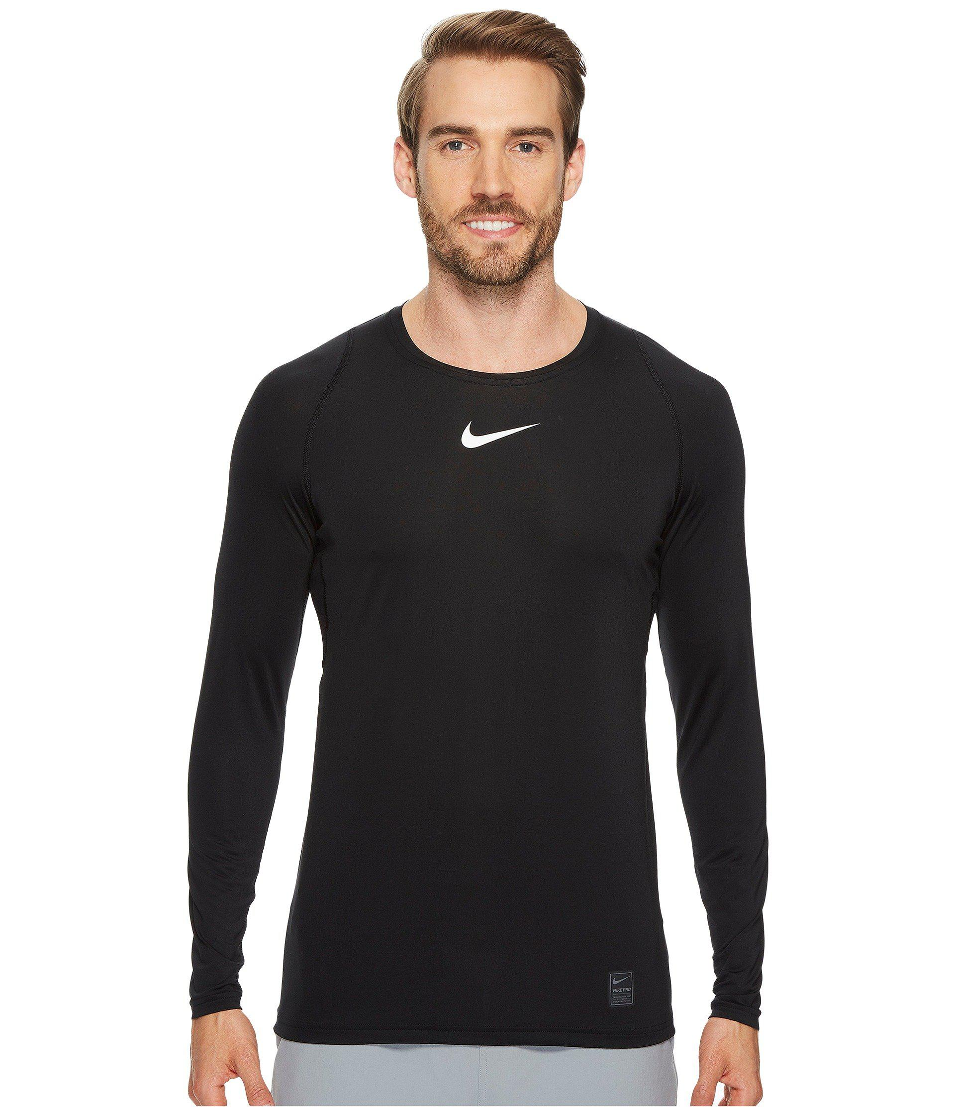 64924da6 Nike. Black Pro Fitted Long Sleeve Training Top (obsidian/white/white) Men's  ...