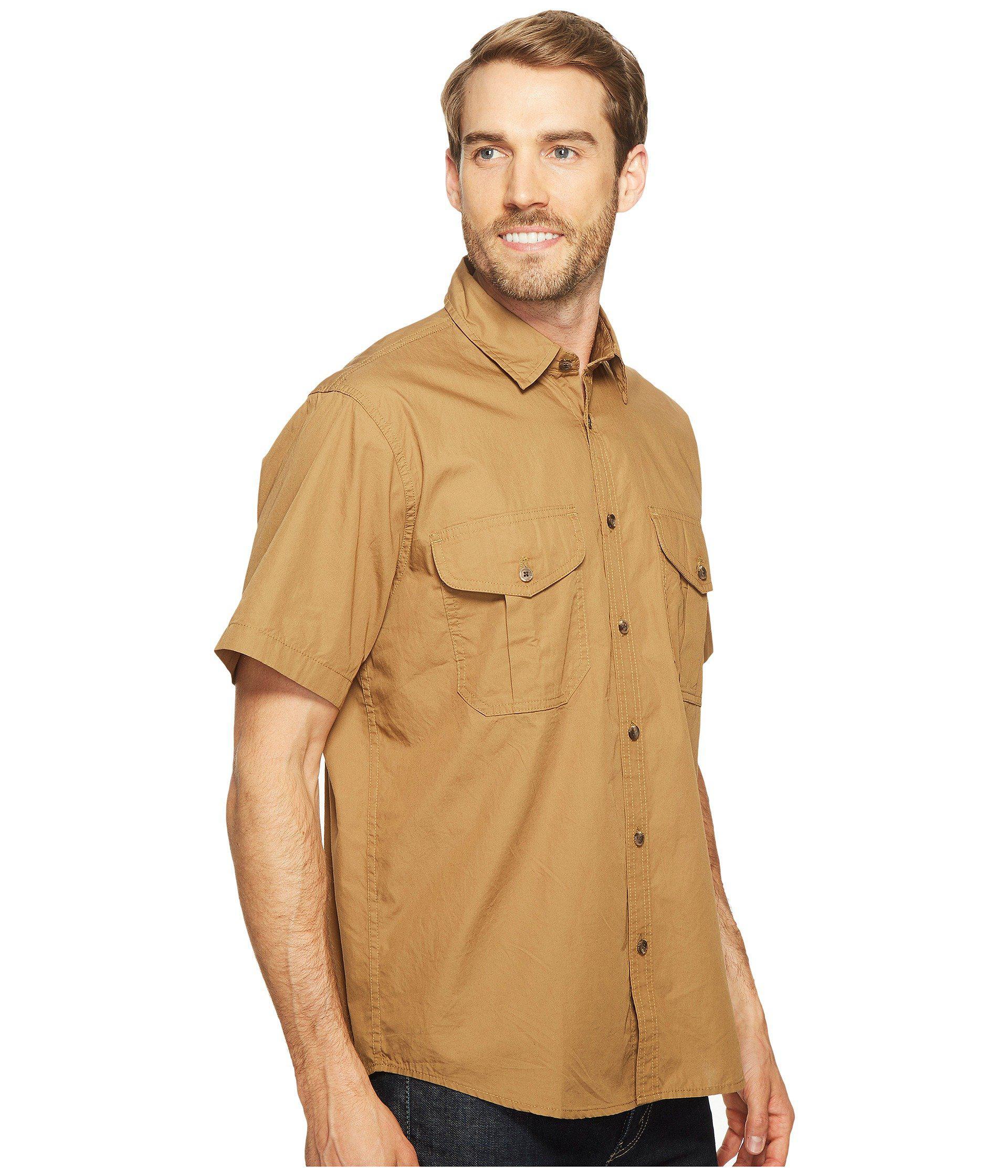 a86b80a917a0a Filson - Brown Short Sleeve Feather Cloth Shirt (khaki olive blue Plaid).  View fullscreen