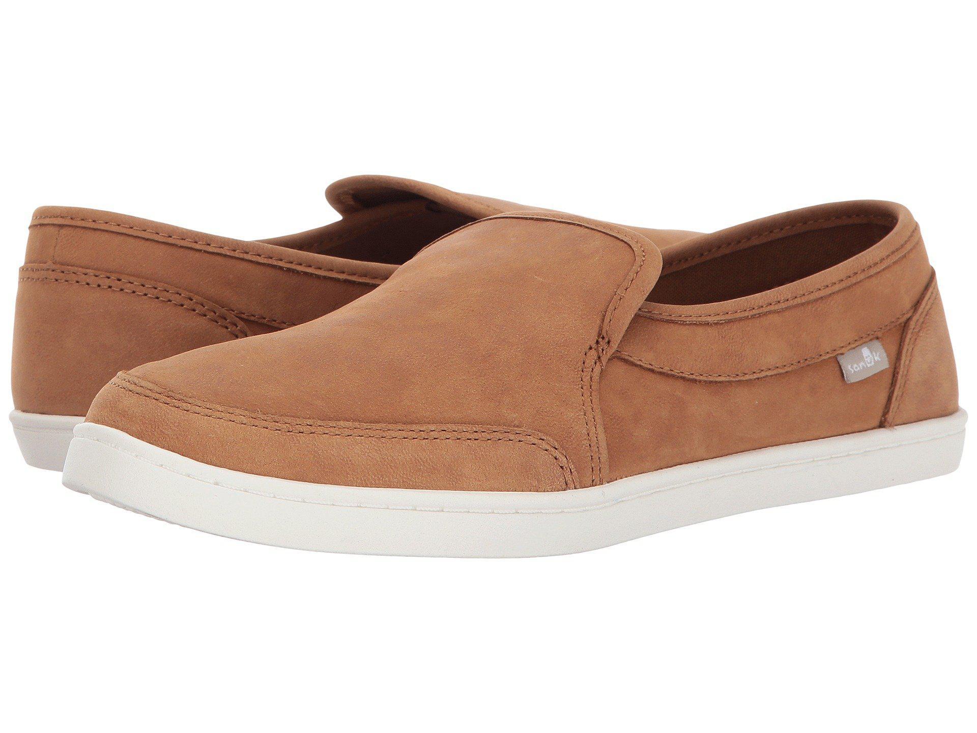 Sanuk Pair O Dice Leather Slip-On Shoes 1CXBRKE