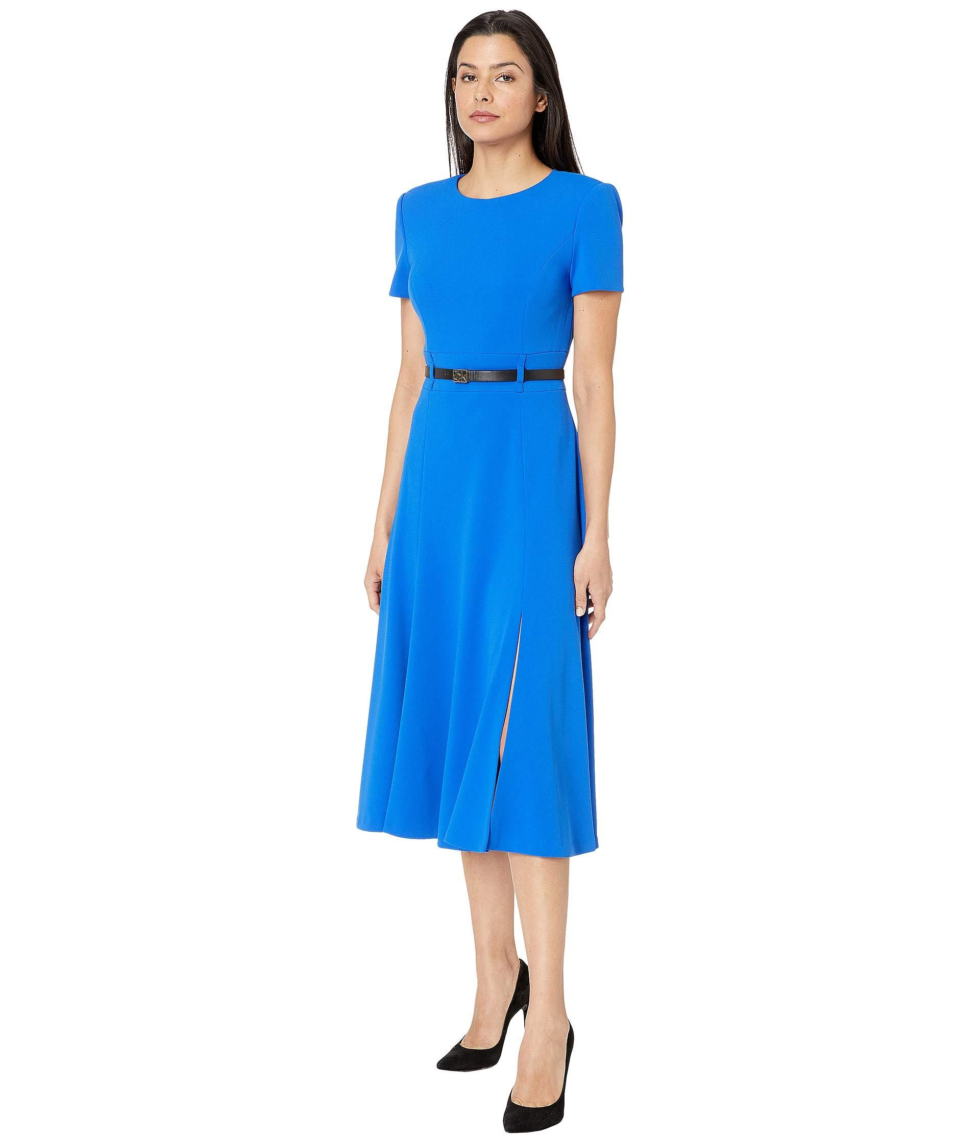 82988321a027 Calvin Klein. Blue Short Sleeve A-line Midi With Ck Logo Belt (capri)  Women s Dress