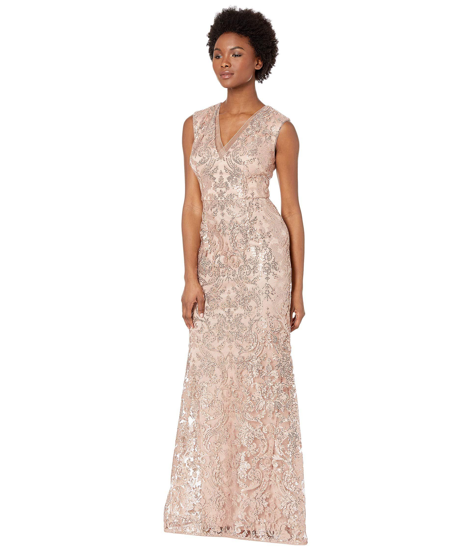 b367dd5861 Adrianna Papell V-neckline All Over Sequin Embroidery Modified ...