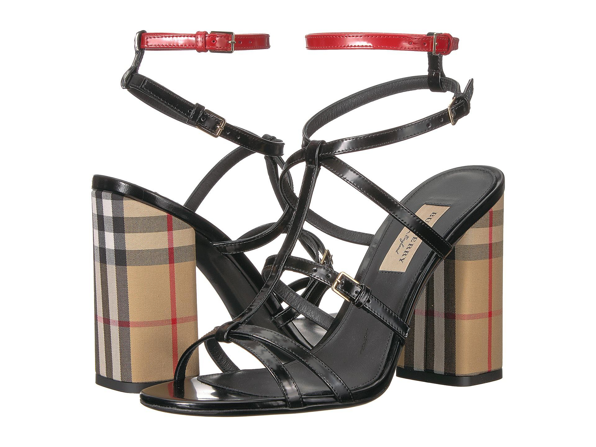 ada51376e4c74 Lyst - Burberry Vintage Check And Patent Leather Sandals in Black