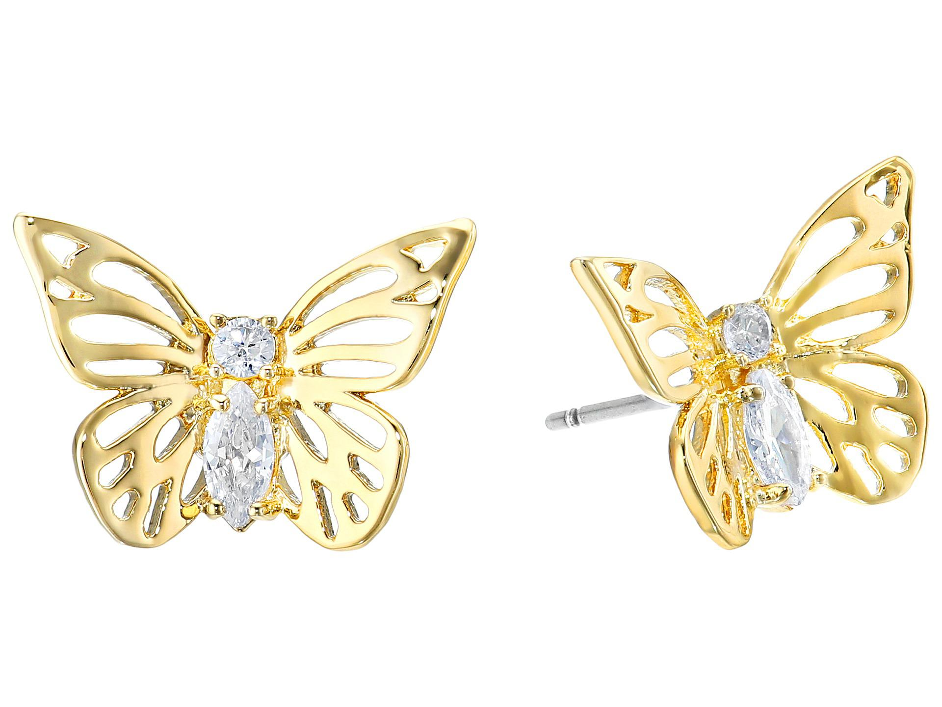 24b0cd24d80fc Lyst - Kate Spade Social Butterfly Stud Earrings in Metallic