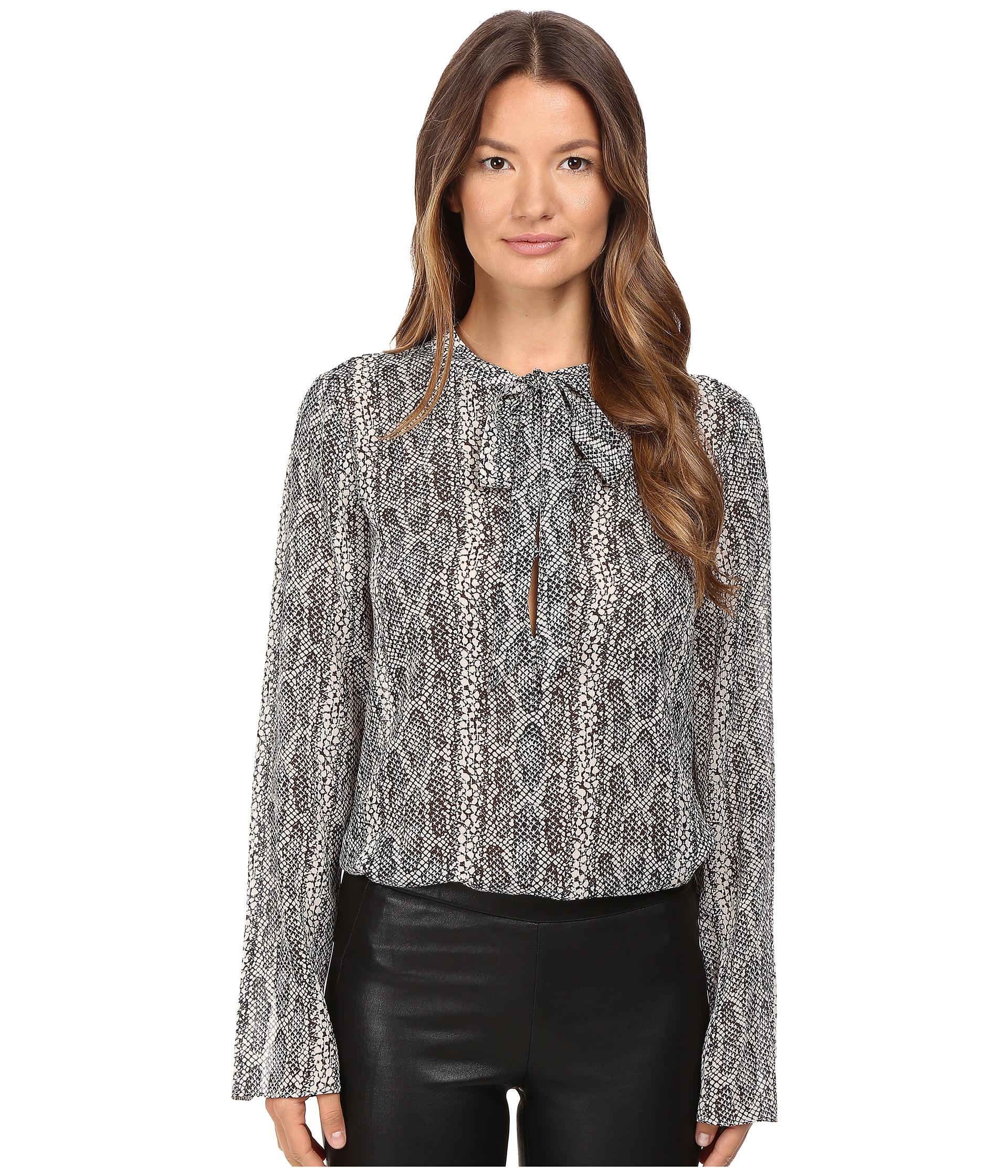 70d9f180a17eb7 Lyst - Theory Kimry Snake Print Top in Black