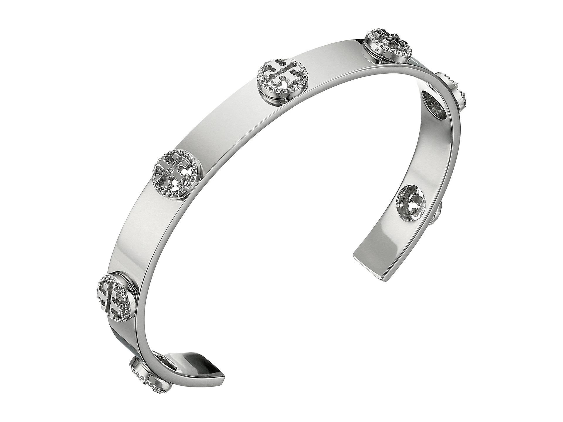 Tory Burch Milgrain Logo Cuff Bracelet In Metallic Lyst