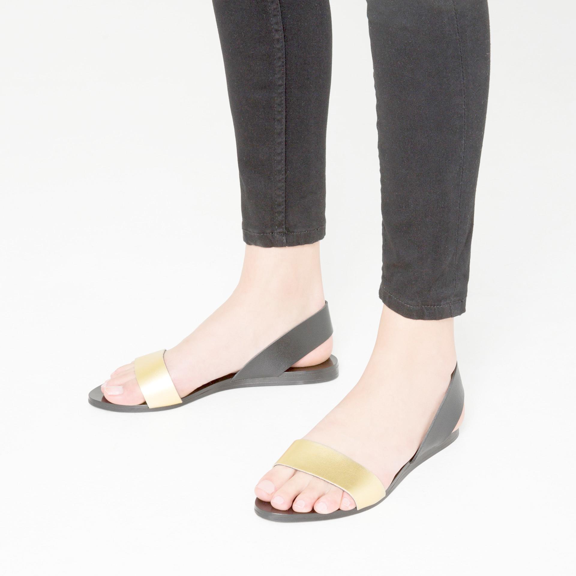 zara flat metallic leather sandals in black lyst