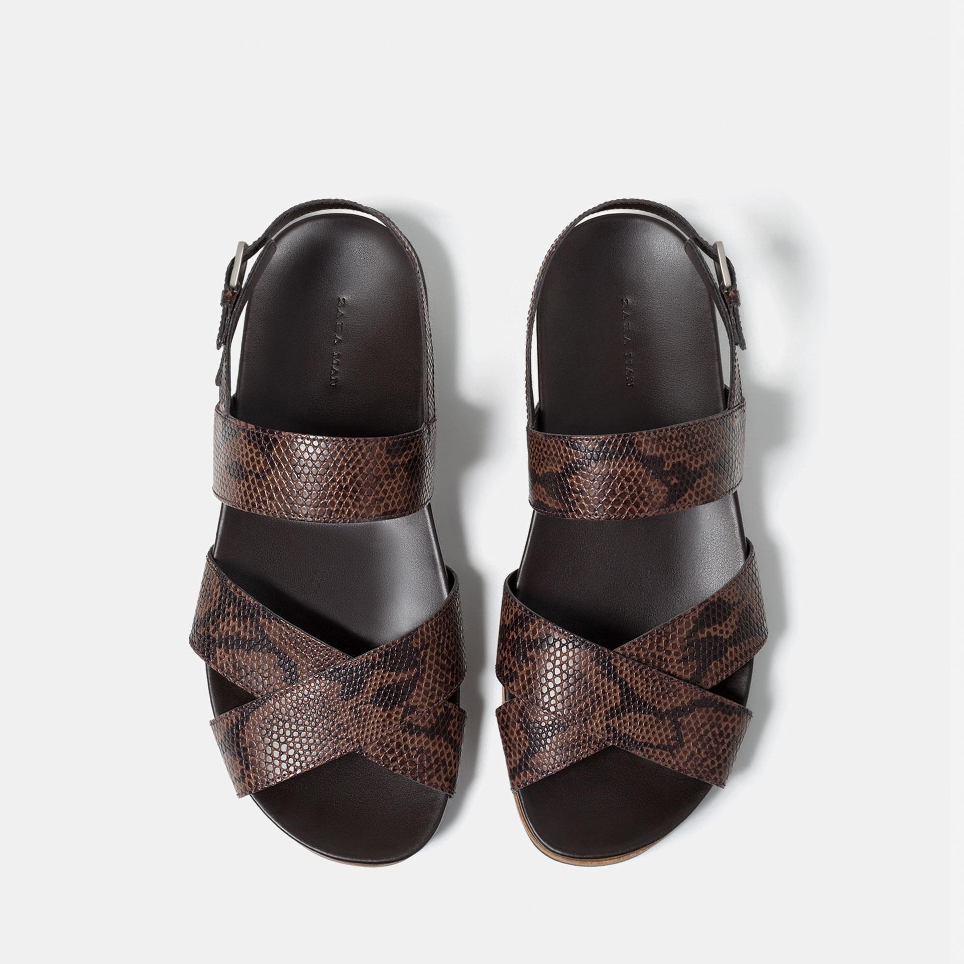 Zara Animal Print Sandals In Brown For Men Lyst