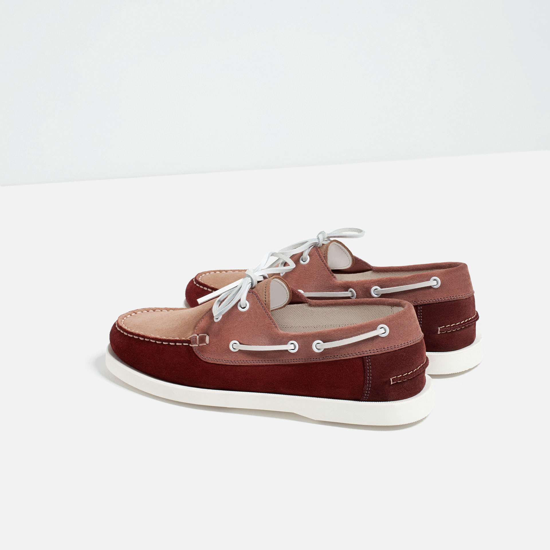 zara leather deck shoes for lyst