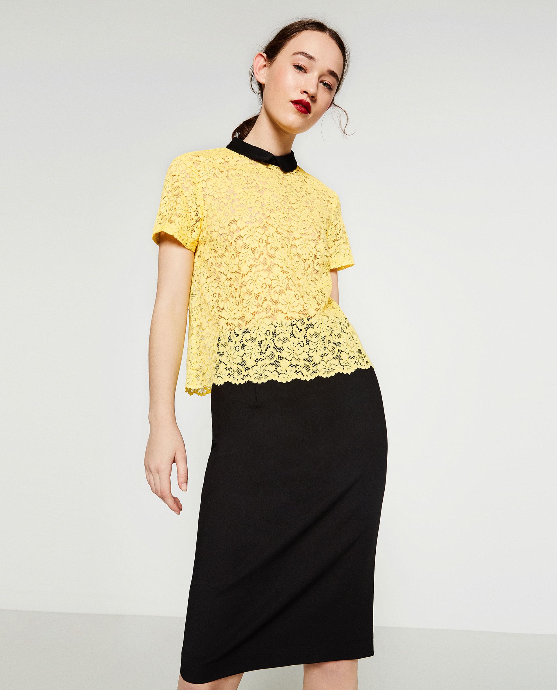 Zara Yellow Lace Blouse 105