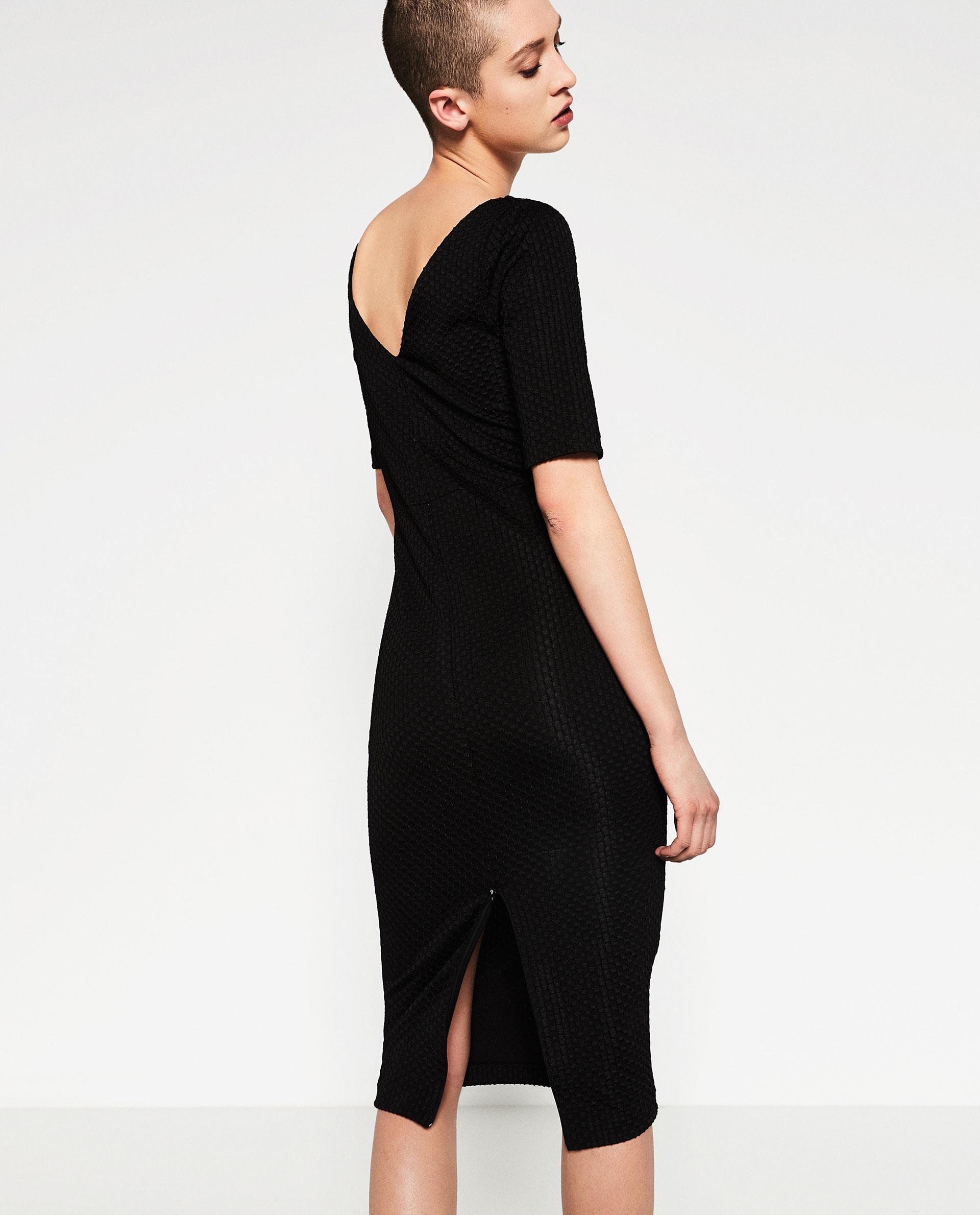 V back black dress zara
