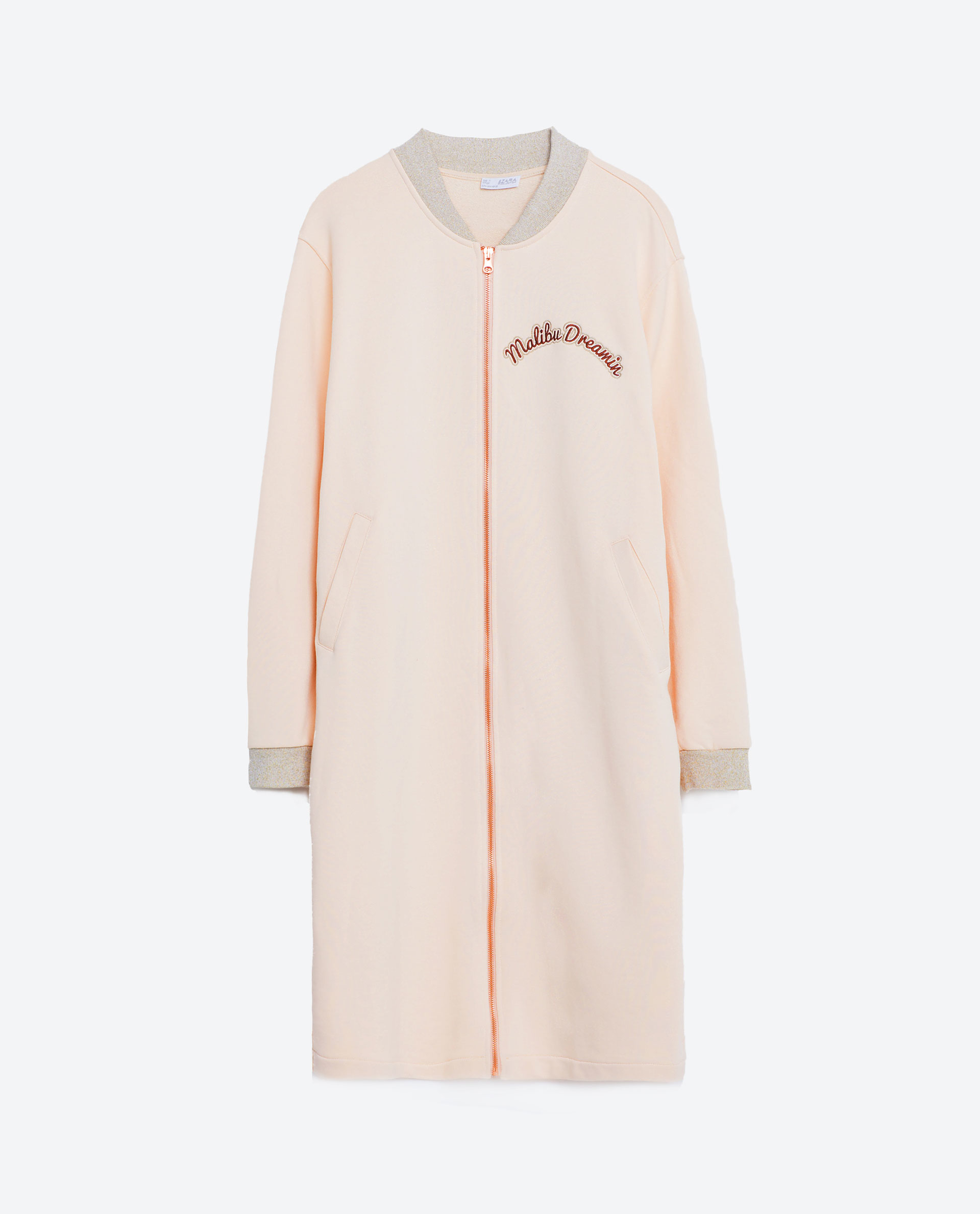 Zara long embroidered bomber jacket in pink lyst