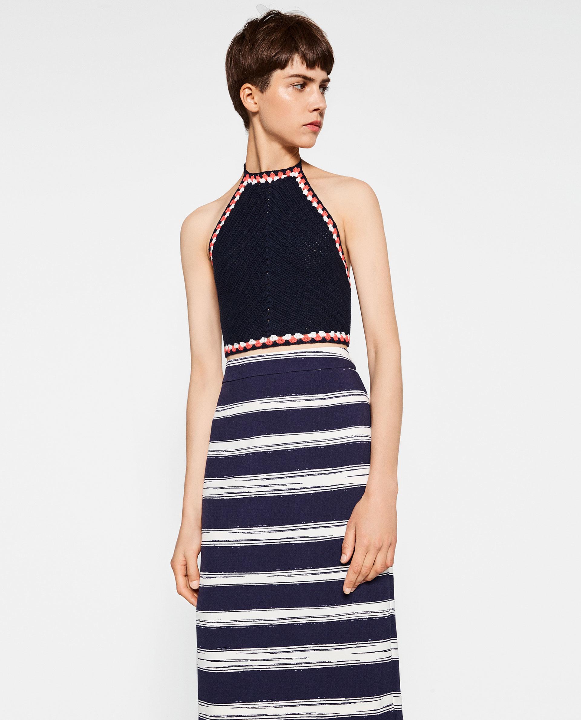 zara striped pencil skirt in white lyst
