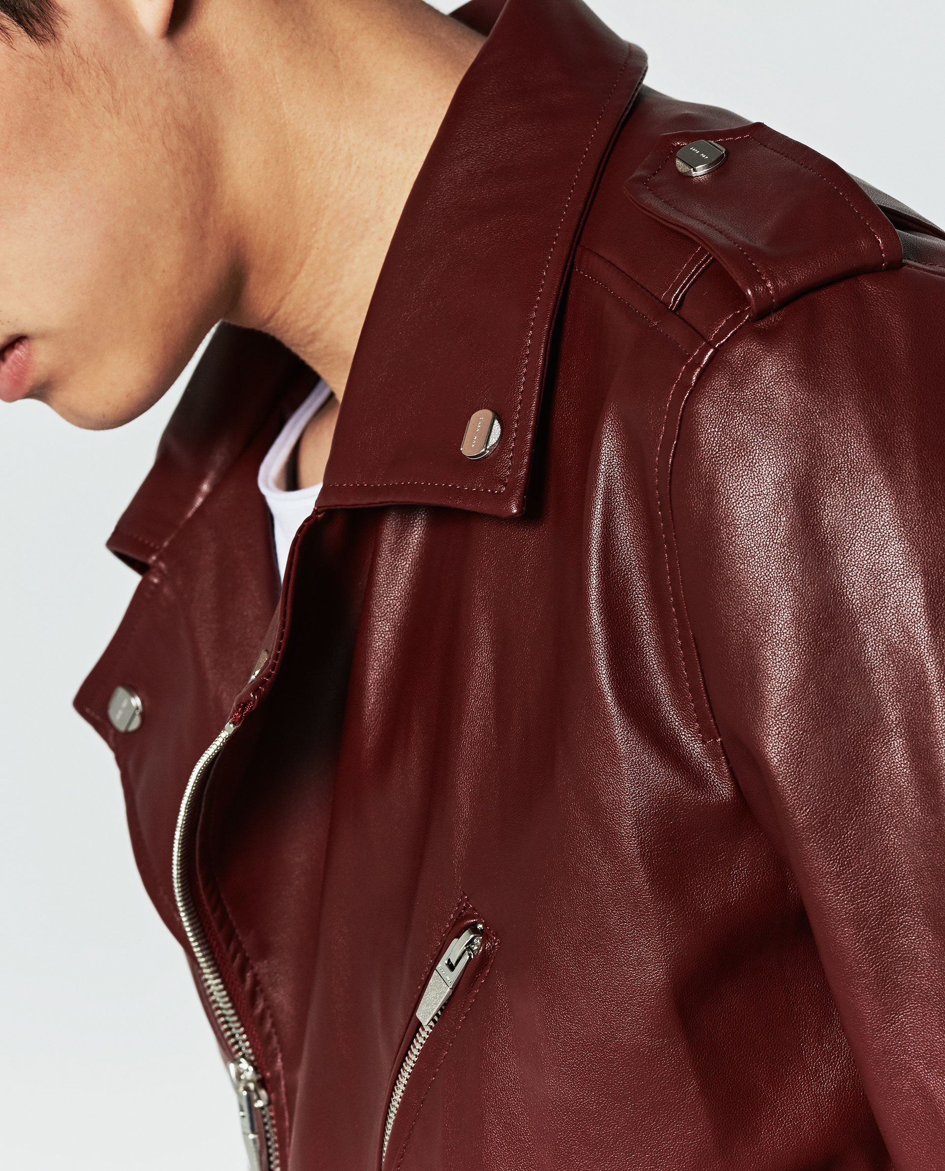Zara Faux Leather Jacket in Red for Men | Lyst