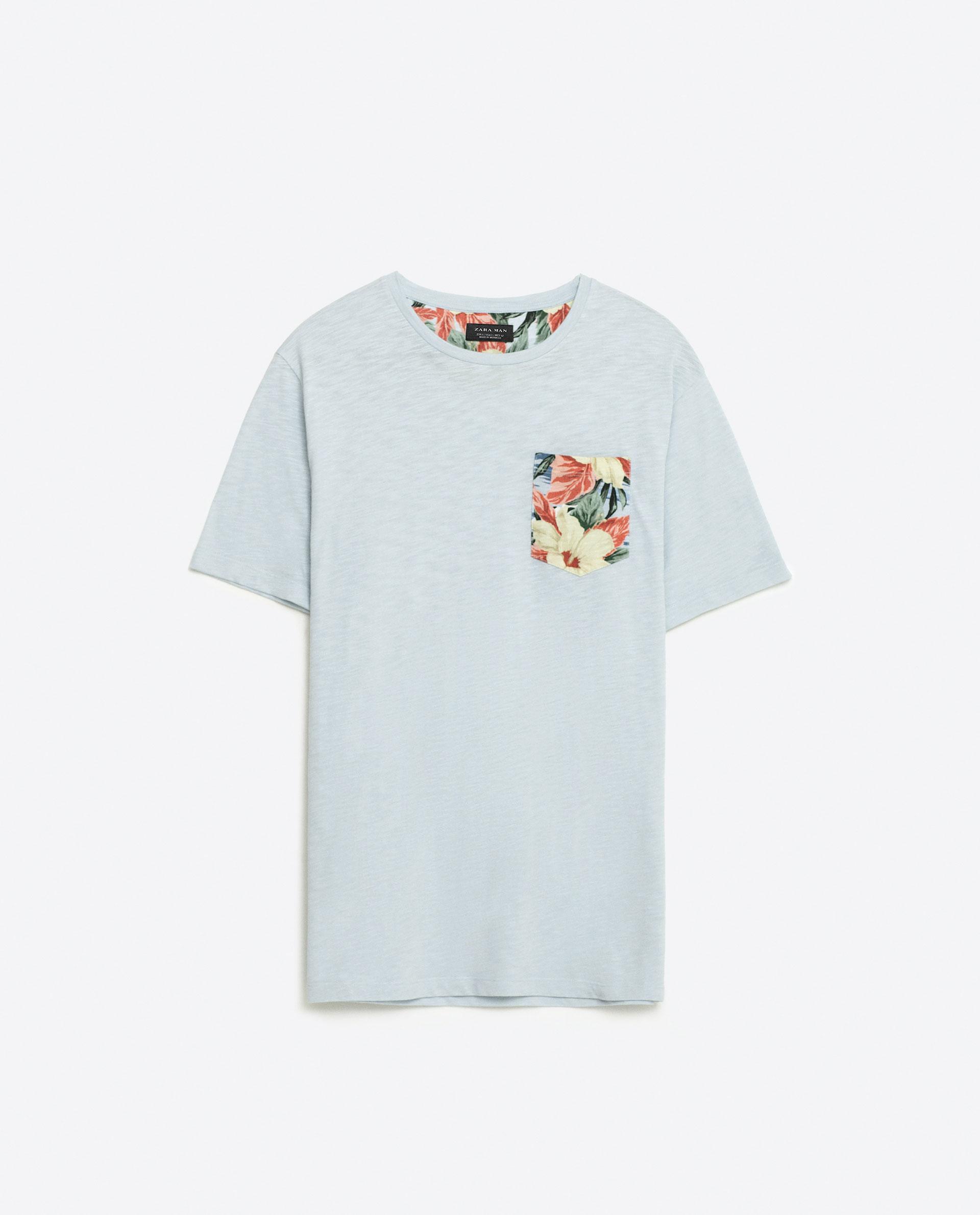 Zara hawaiian floral print t shirt in blue for men lyst for Zara mens floral shirt