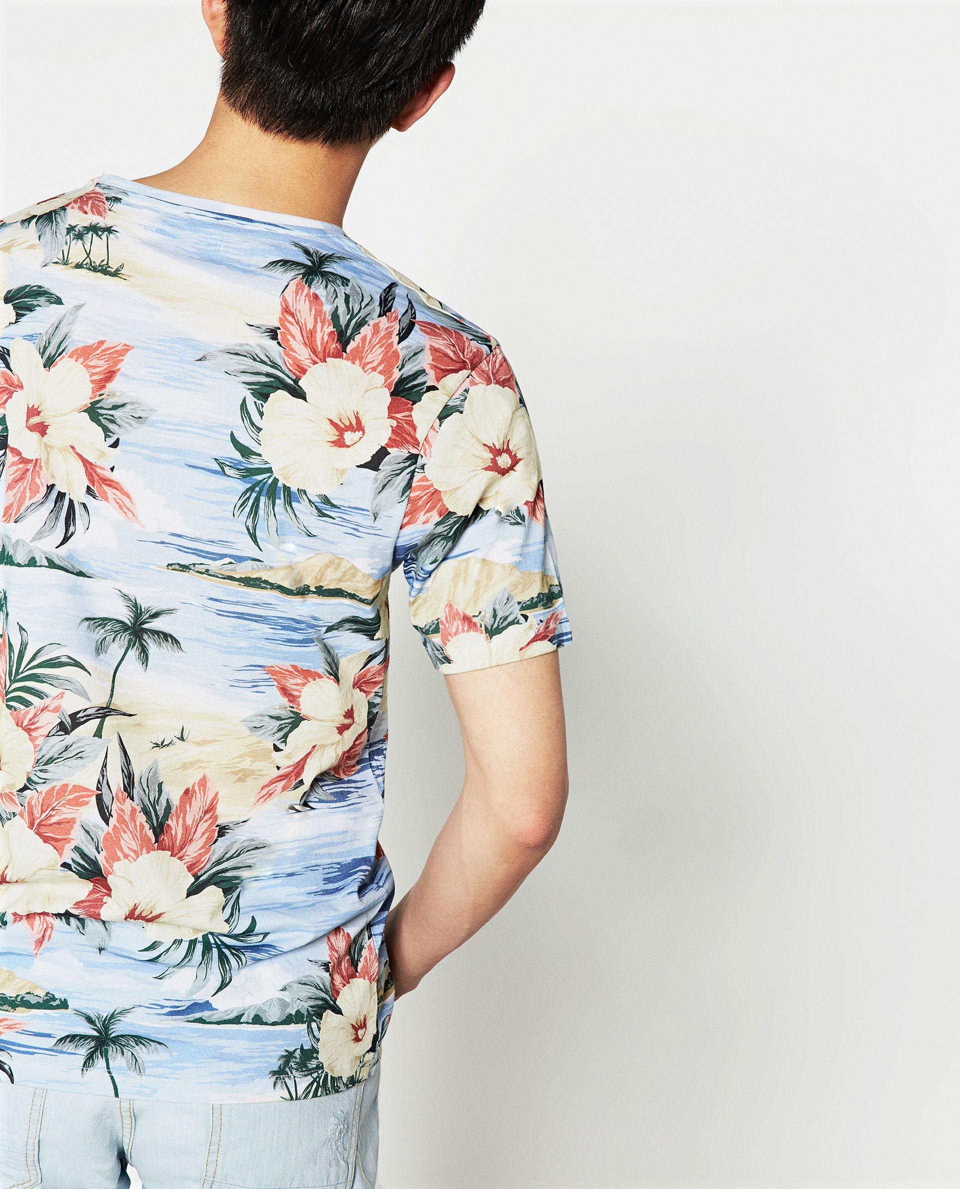 Zara hawaiian floral print t shirt for men lyst for Zara mens floral shirt