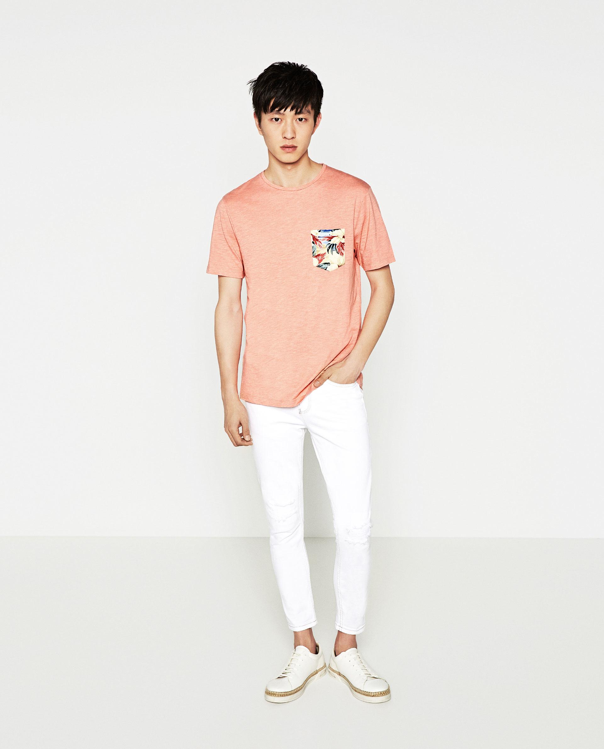 Zara hawaiian floral print t shirt in pink for men lyst for Zara mens floral shirt