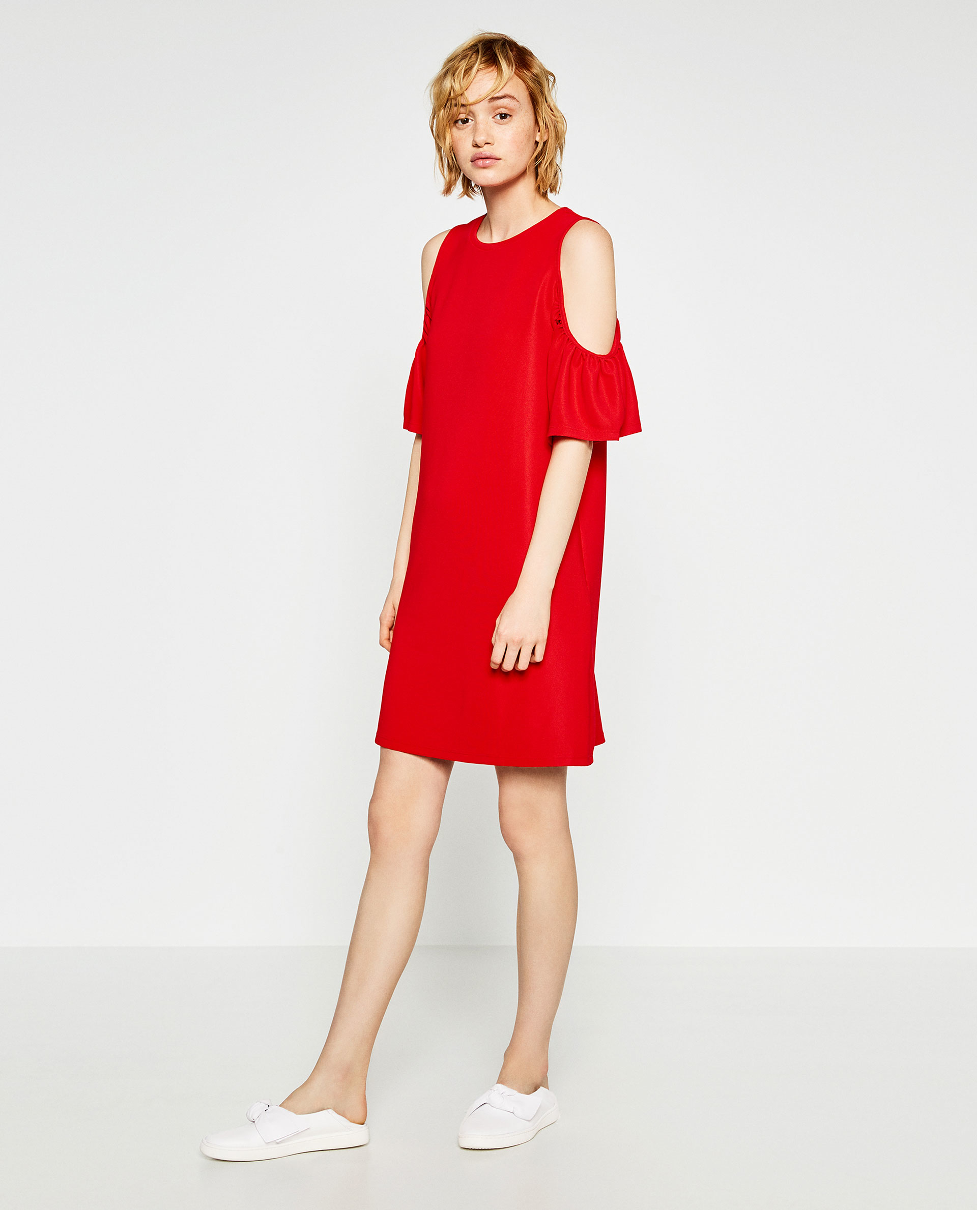 Zara Dress With Frills in Red