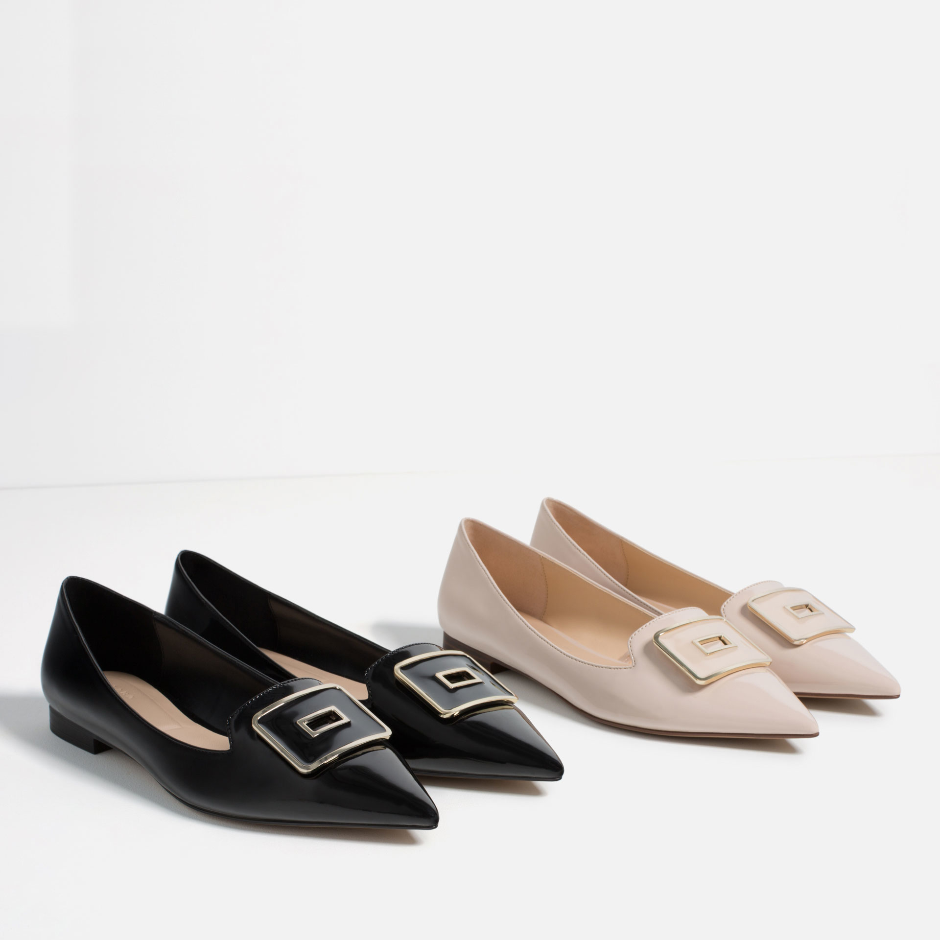 zara pointed ballet flats with buckle in multicolor lyst