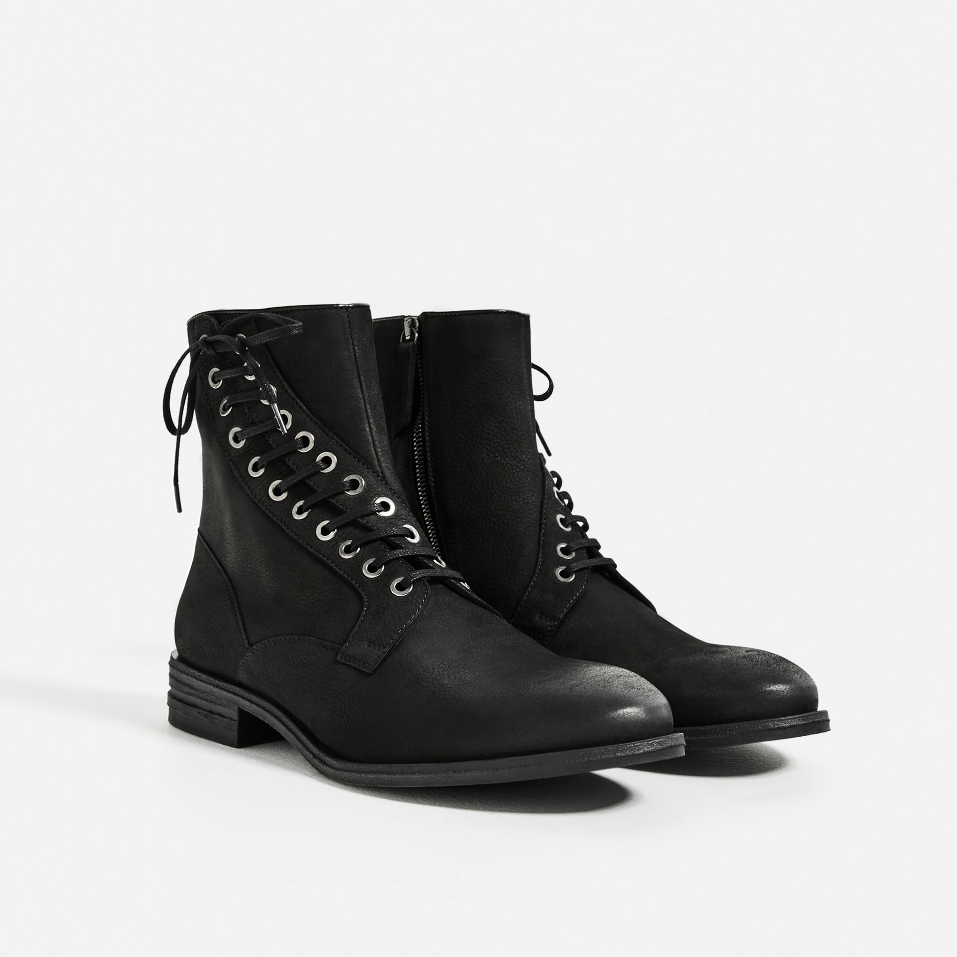 zara black leather boots with asymmetric facing for lyst