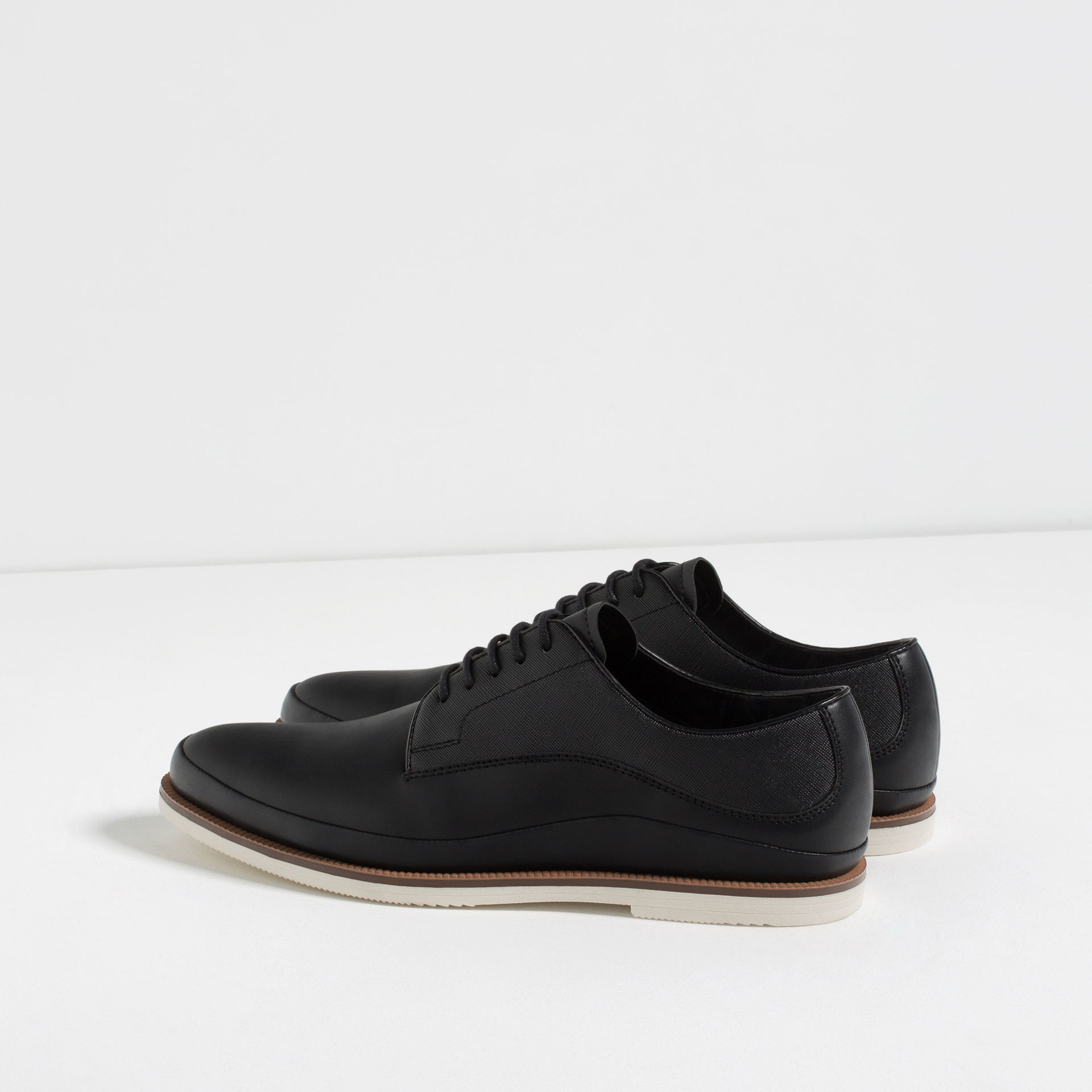zara black casual bluchers in black for lyst