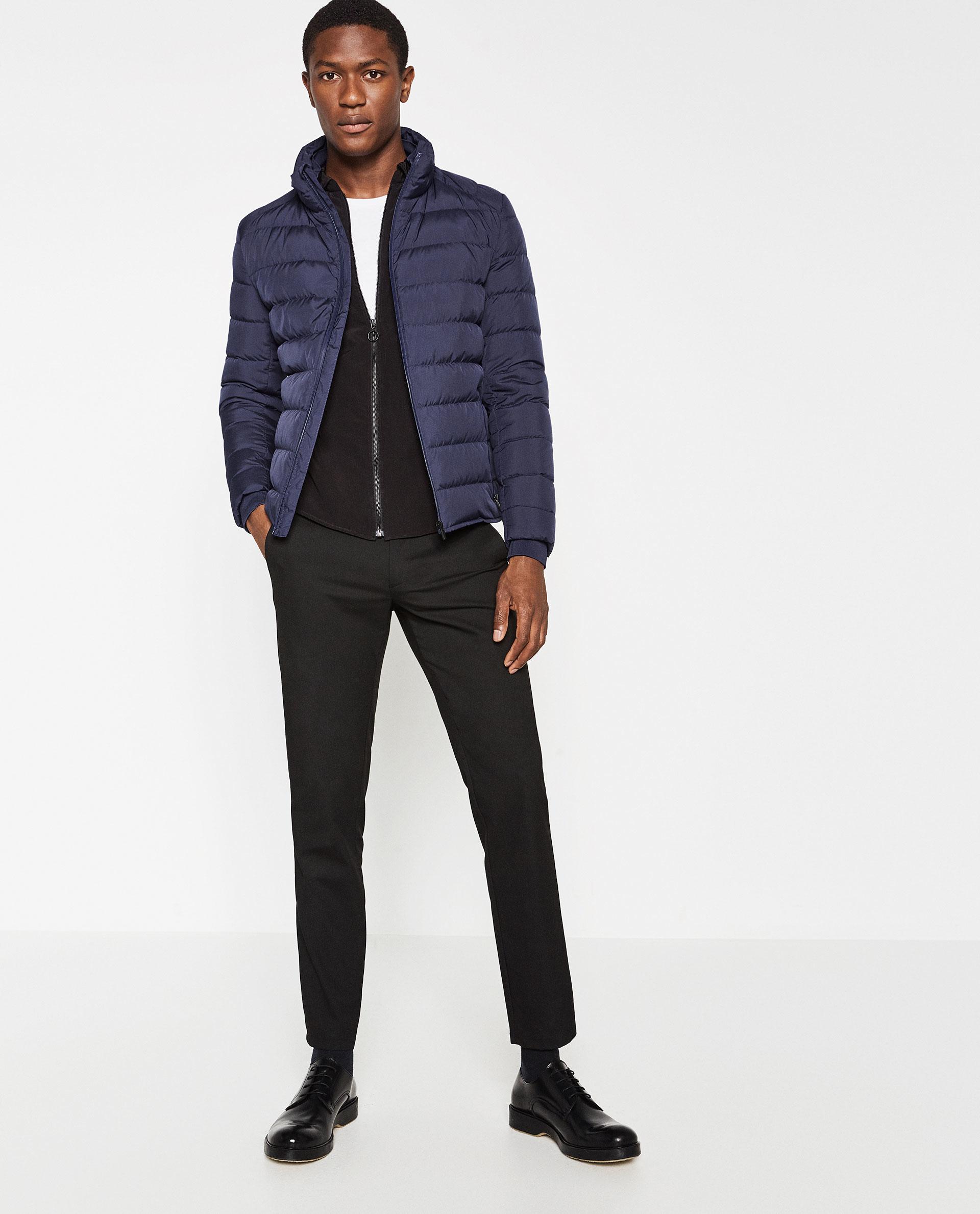 zara thermal quilted jacket in blue for men lyst. Black Bedroom Furniture Sets. Home Design Ideas