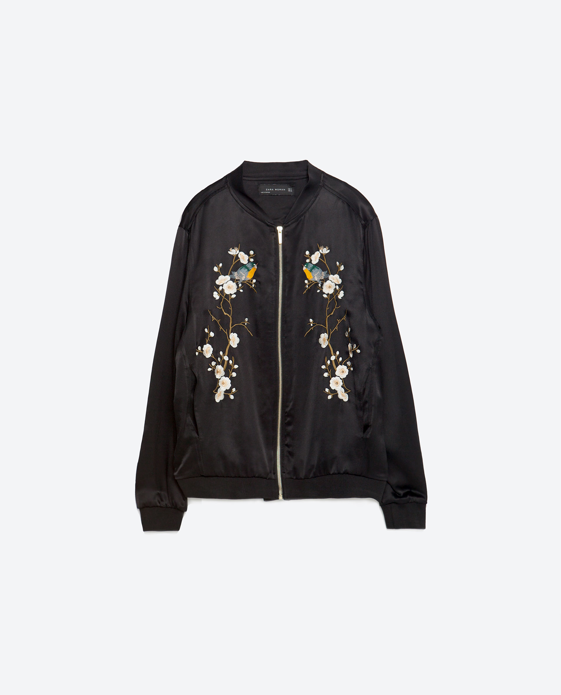 Zara floral embroidered bomber jacket lyst