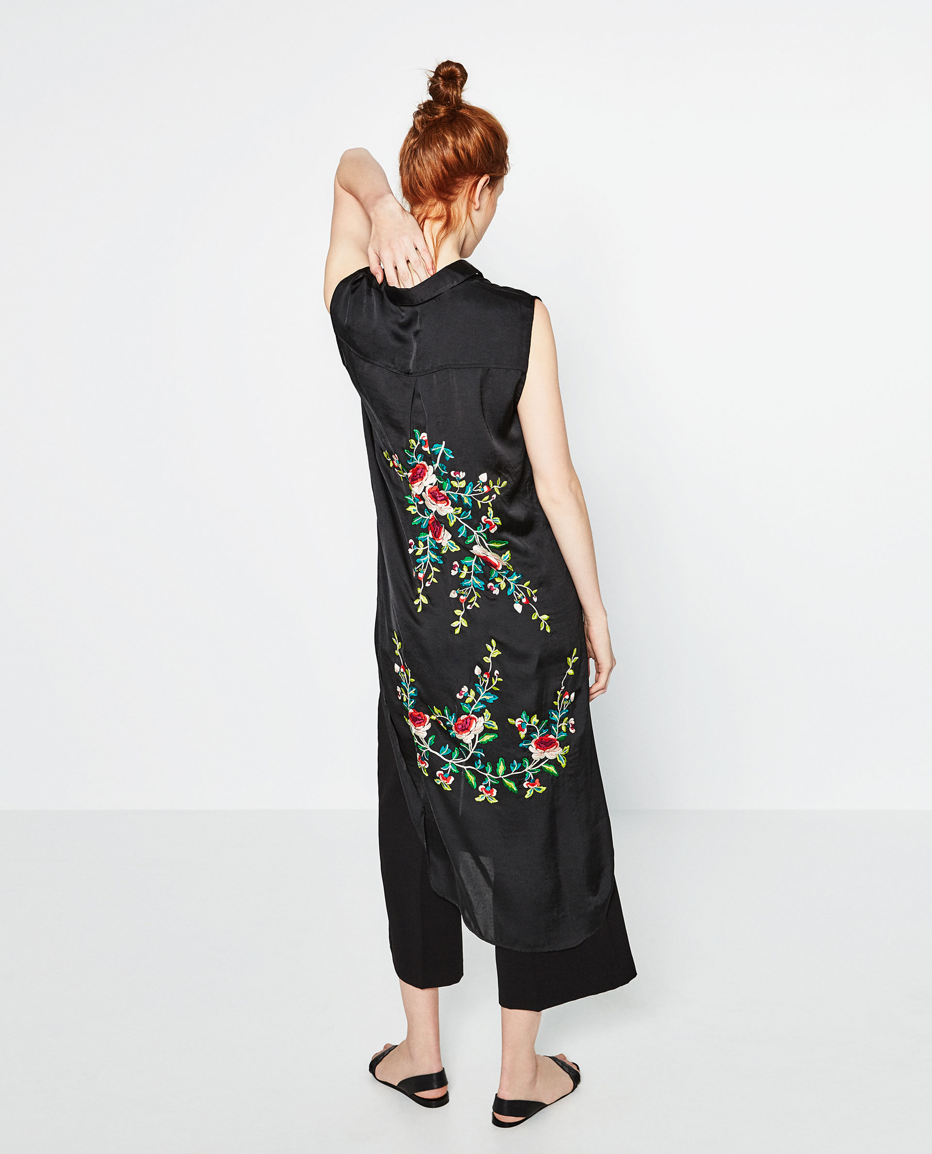 Zara floral embroidered shirt in black lyst