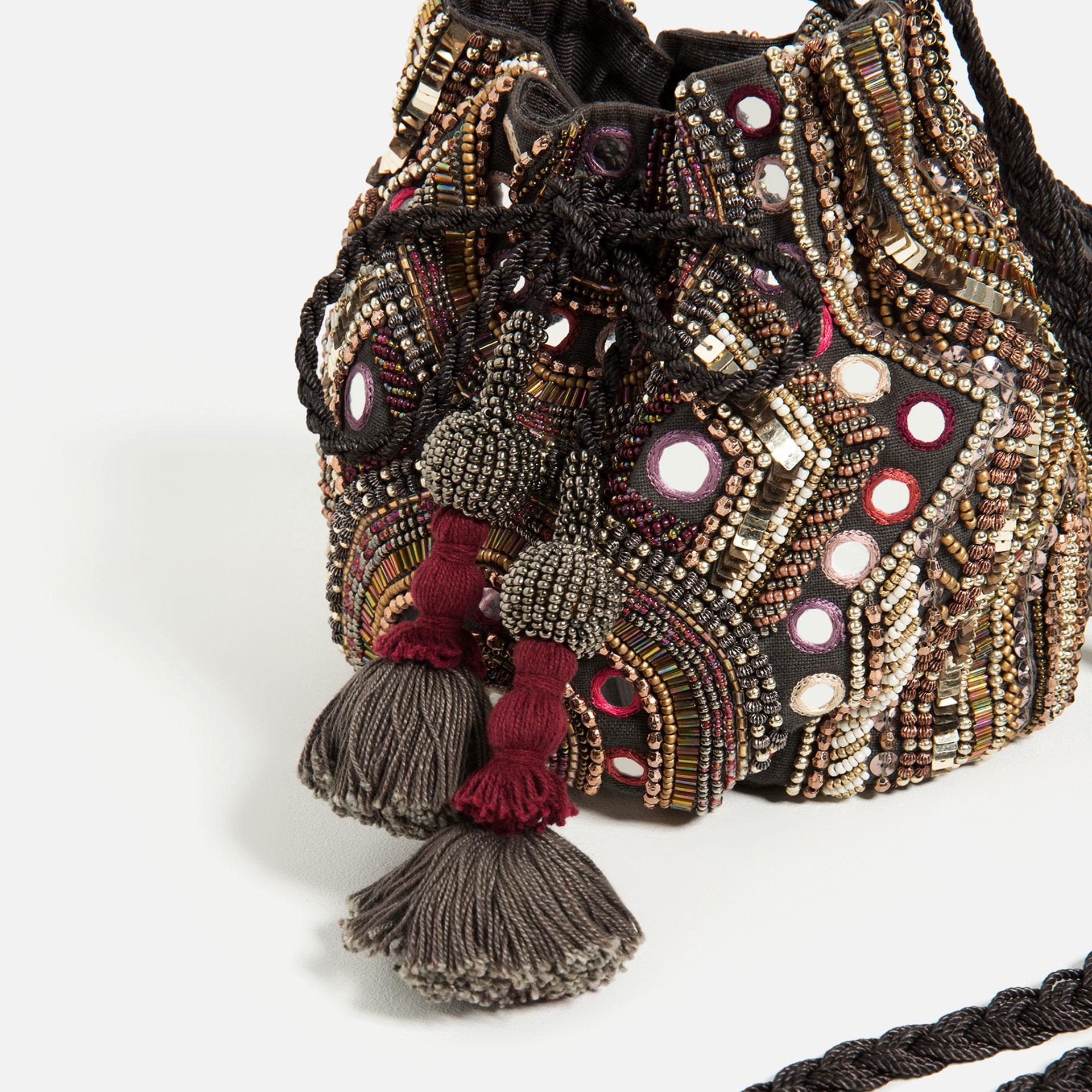 Zara Beaded Bucket Bag Lyst