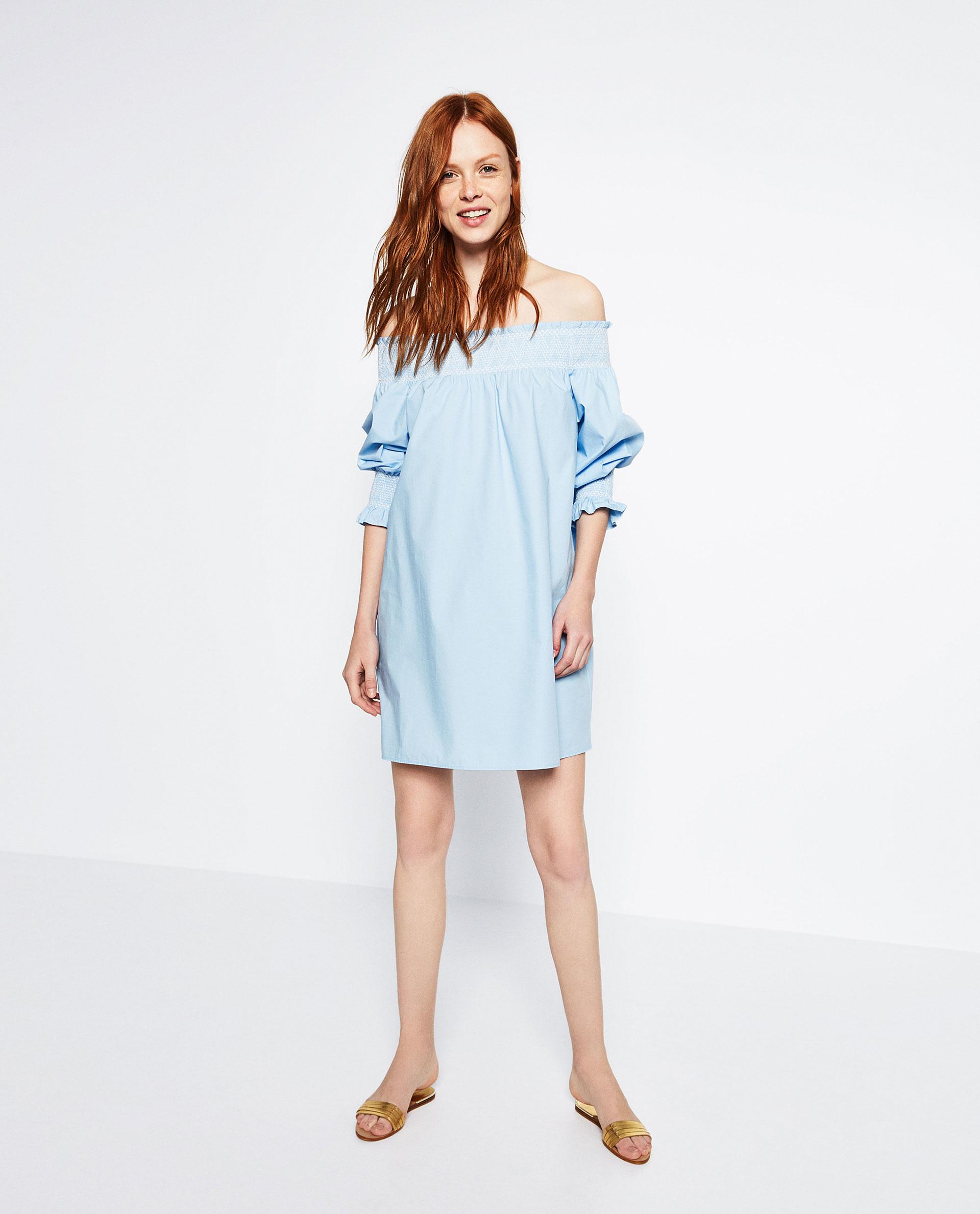 Zara off the shoulder poplin dress in blue lyst for Zara black t shirt dress