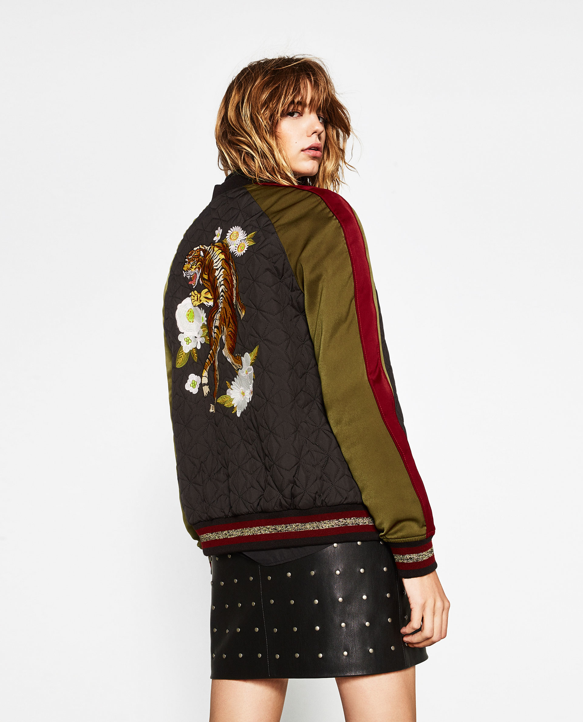 zara tiger embroidered bomber jacket lyst. Black Bedroom Furniture Sets. Home Design Ideas