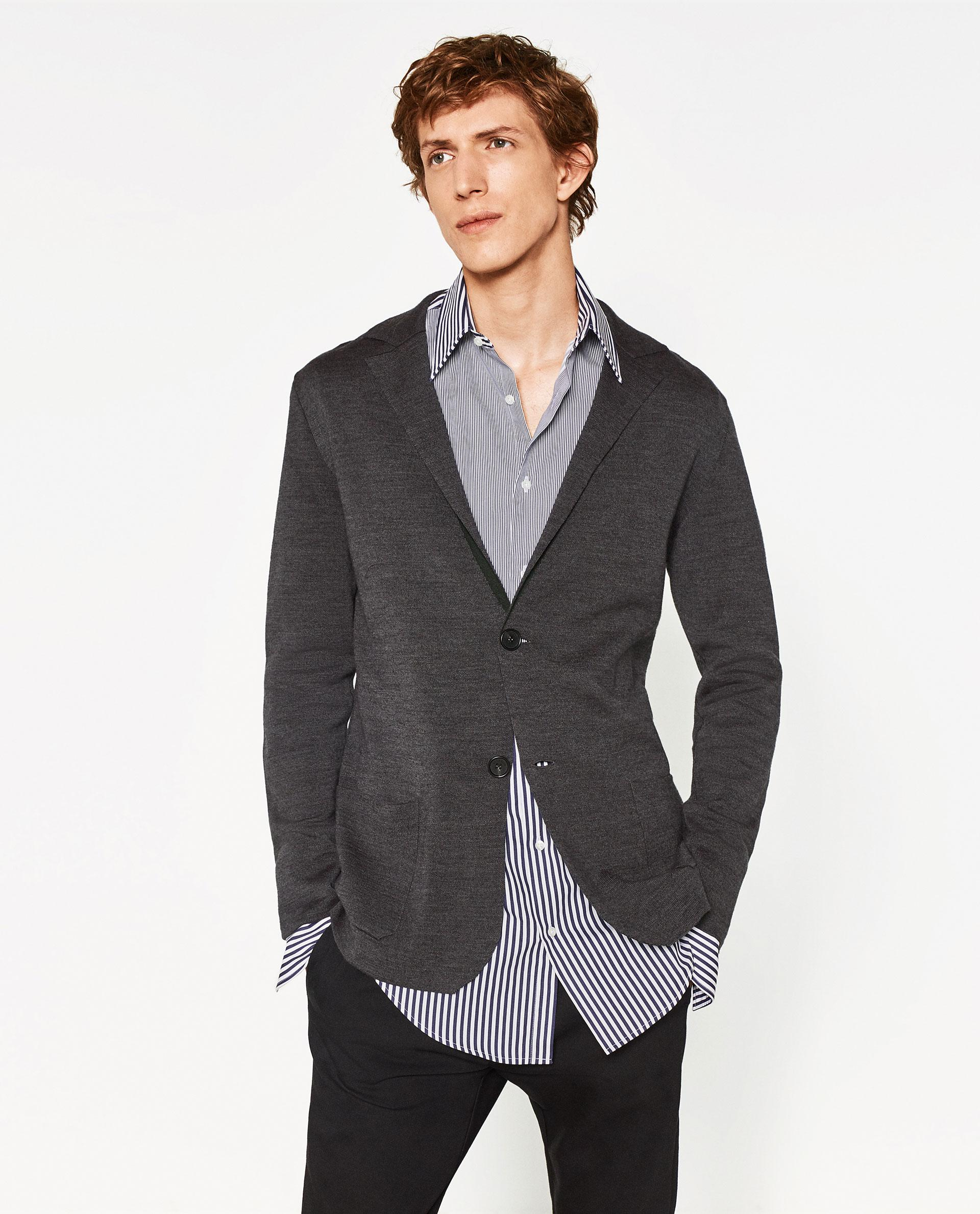 zara knit blazer in gray for men lyst. Black Bedroom Furniture Sets. Home Design Ideas