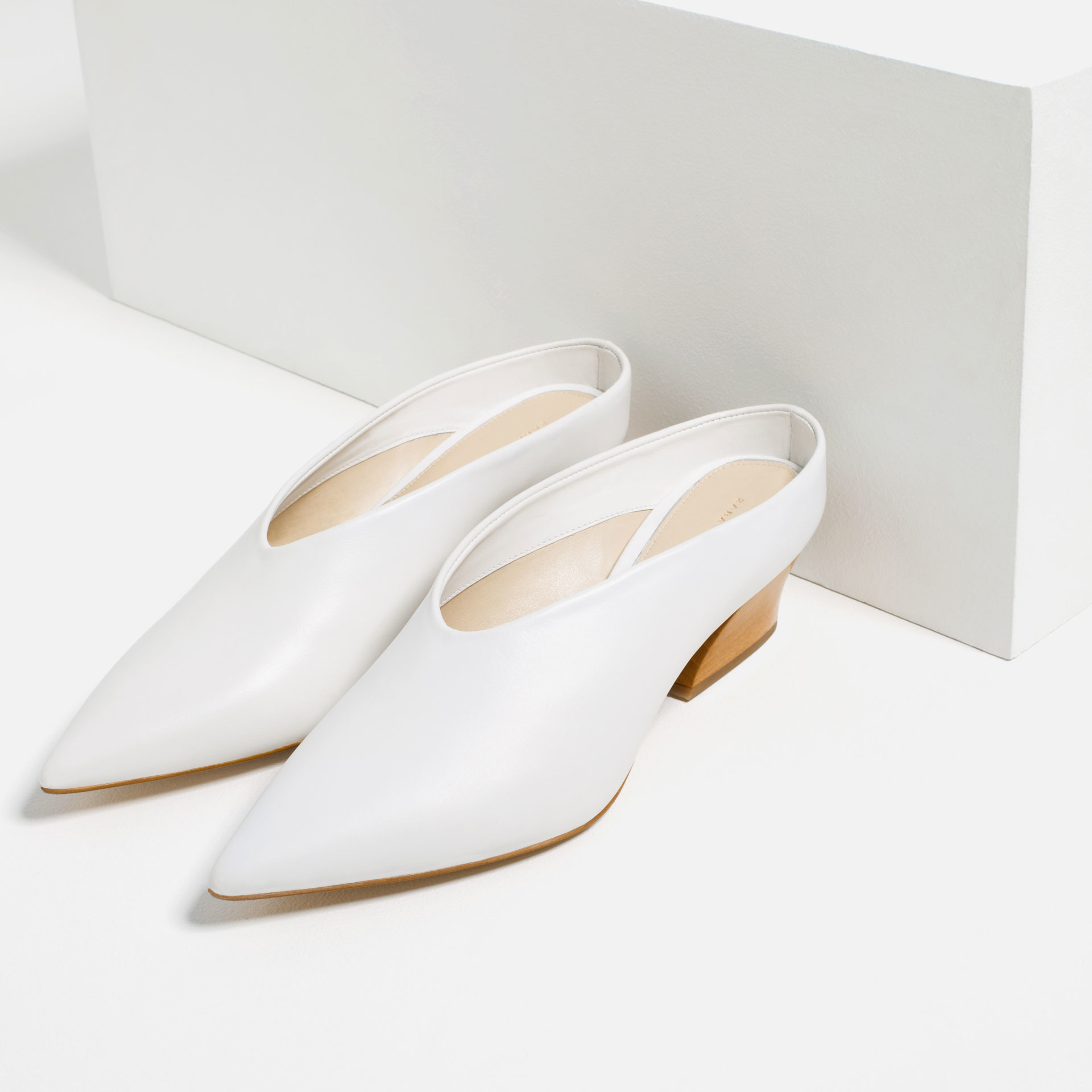 zara leather mule shoes in white lyst
