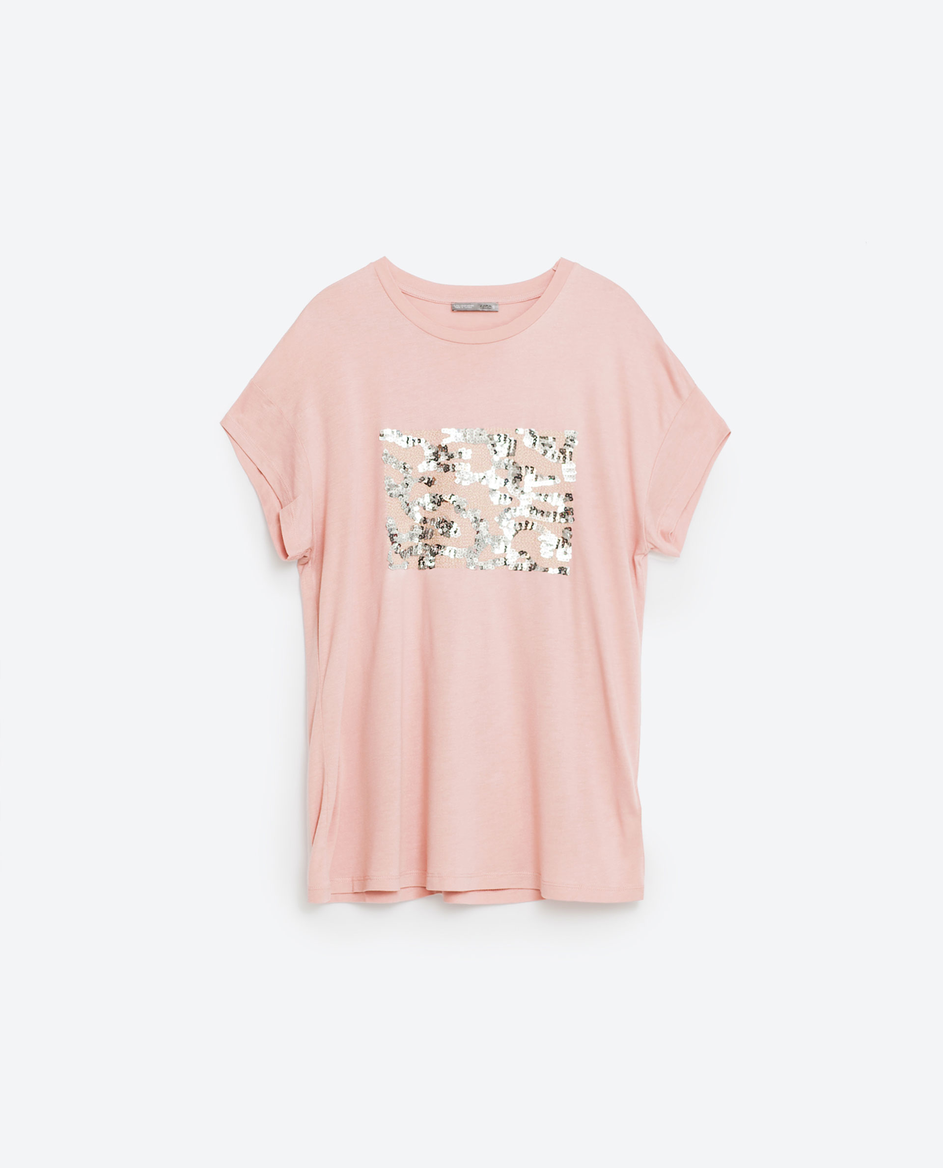 Zara sequin t shirt lyst for Sequin t shirt changing