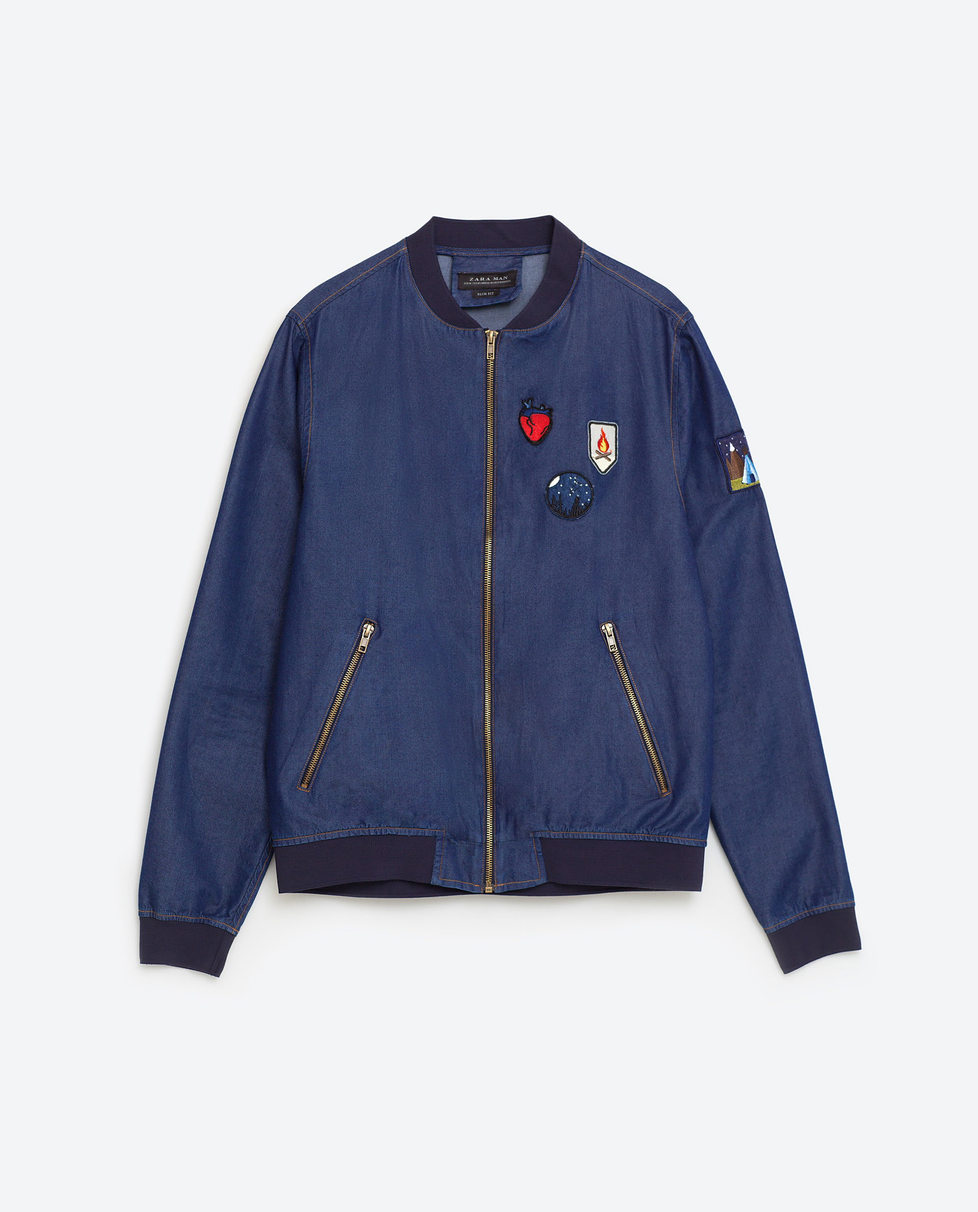 Zara Indigo Patches Bomber Jacket In Blue For Men | Lyst