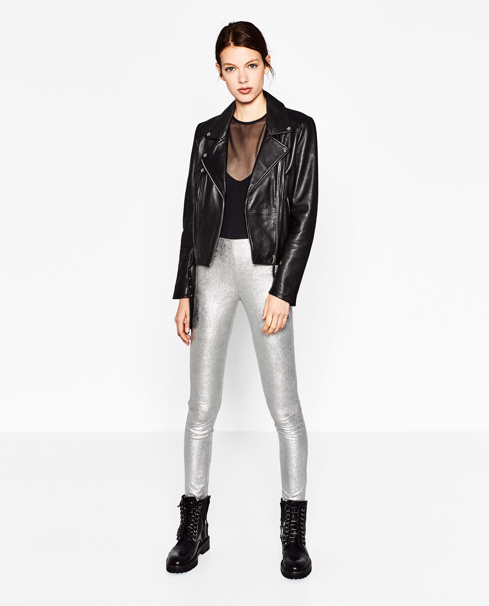 Zara Silver-toned Leggings