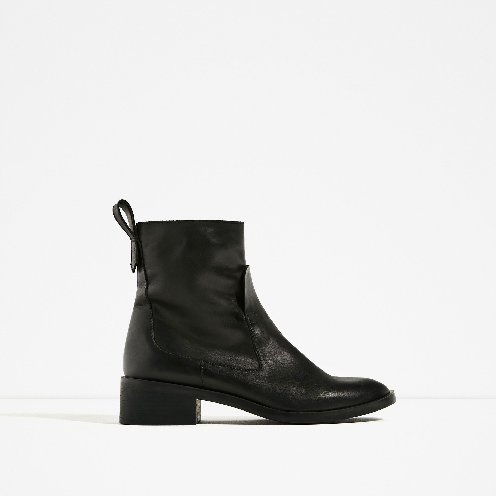 zara flat leather ankle boots lyst