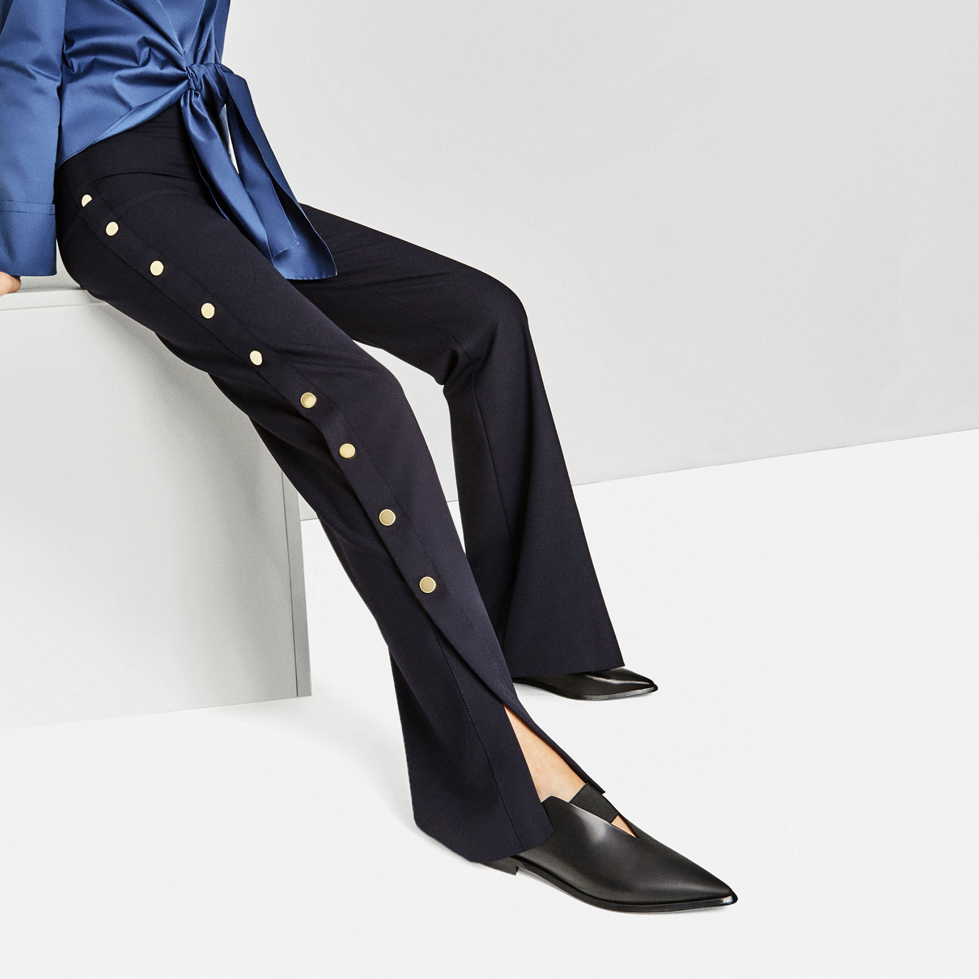 zara pointed flat stretch leather shoes lyst