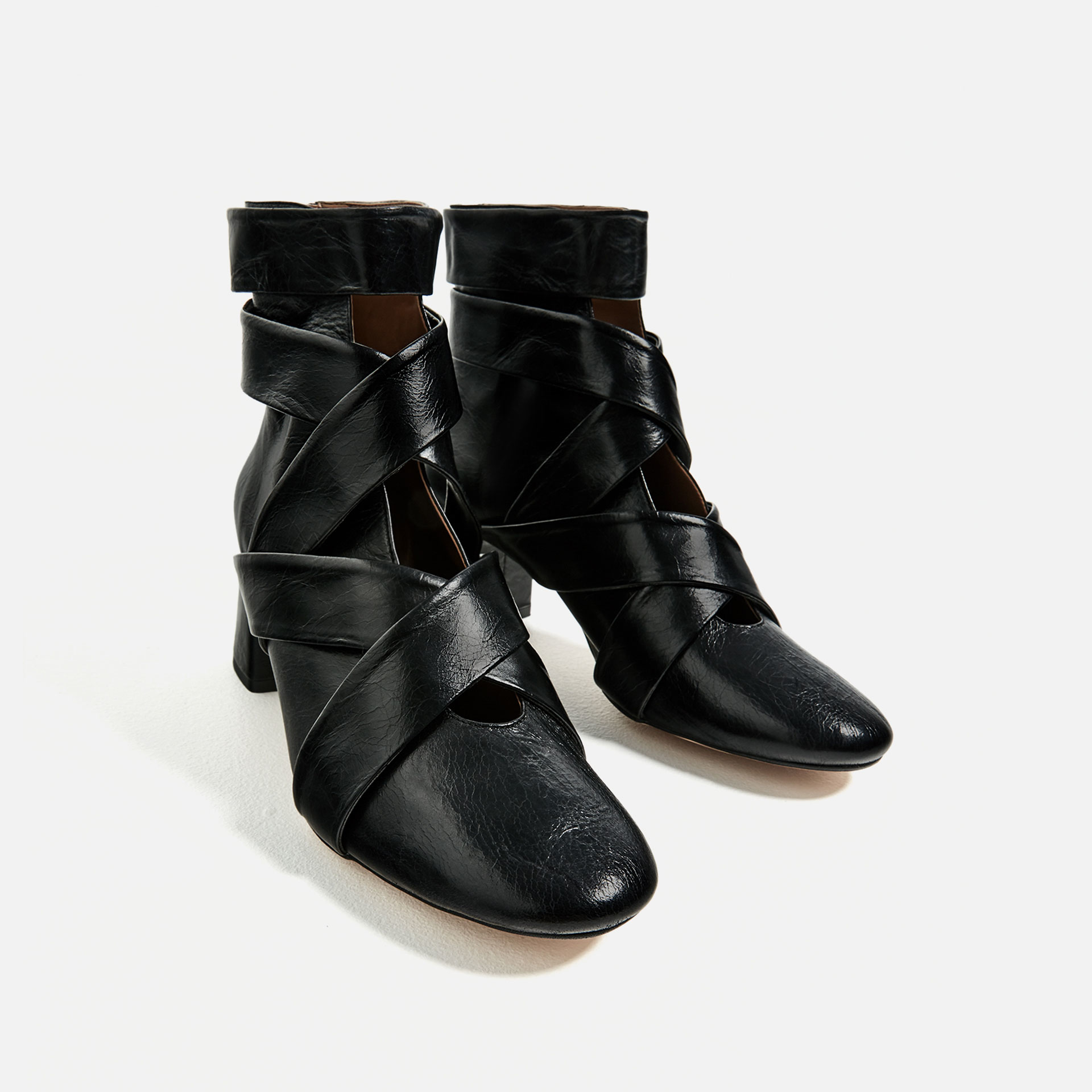 zara high heel leather ankle boots with straps in