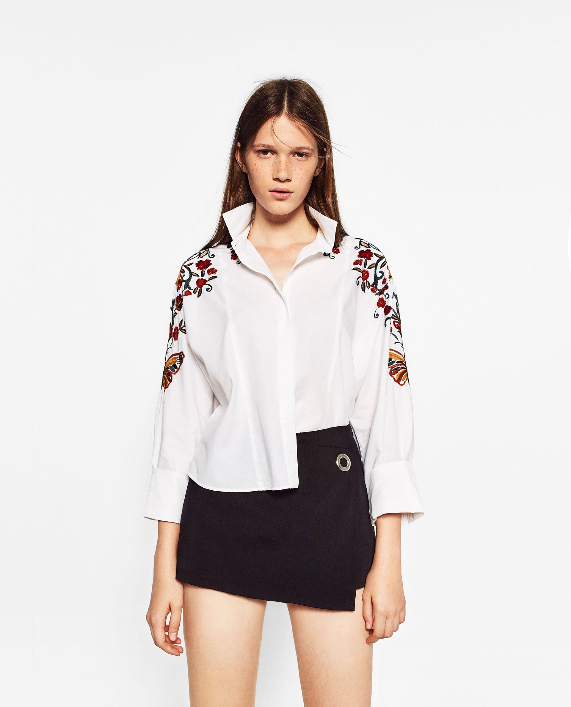 Zara floral embroidered shirt in multicolor lyst for Zara mens shirts sale