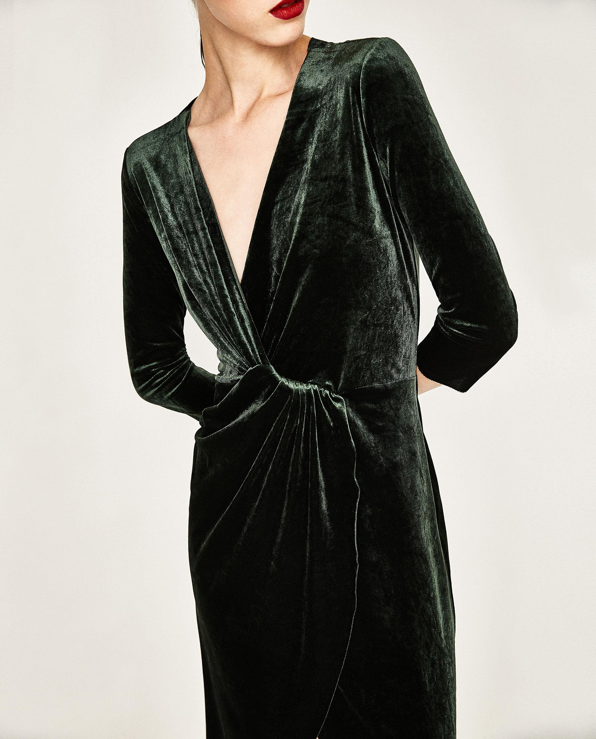 Zara Crossover Velvet Dress In Green Lyst