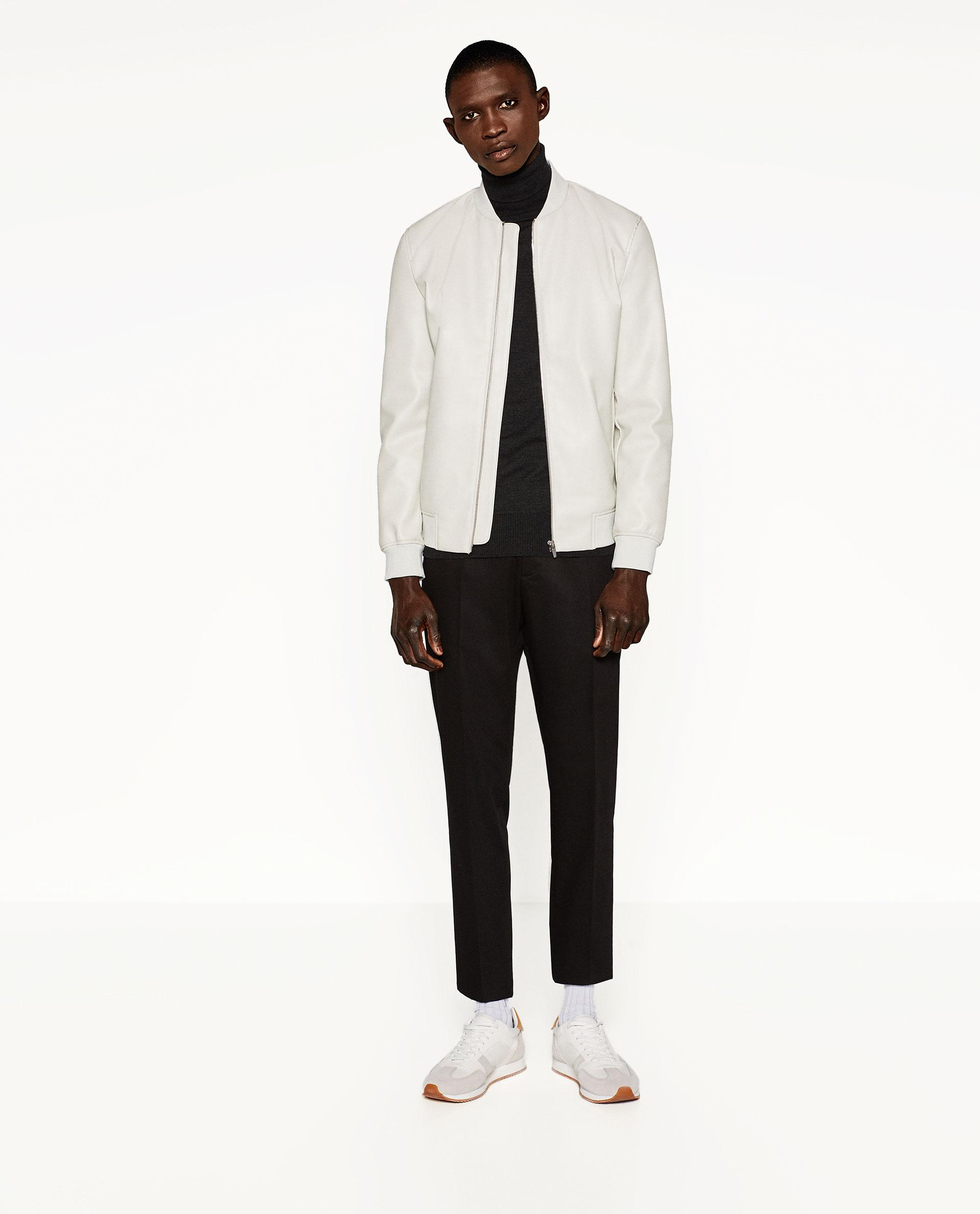Zara Faux Leather Bomber Jacket in White for Men | Lyst