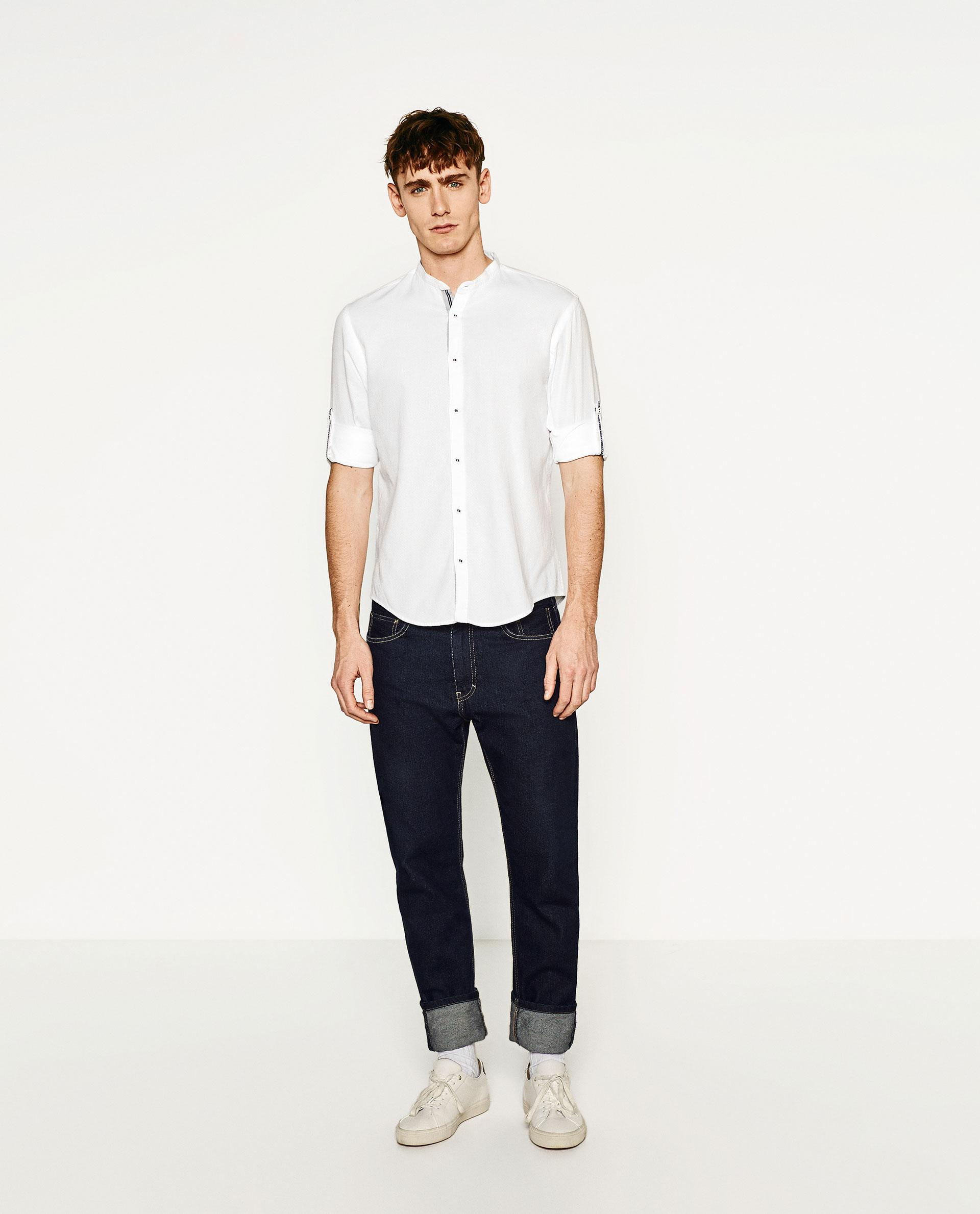 Zara Shirt With Rolled Tab Sleeves in Multicolor for Men : Lyst