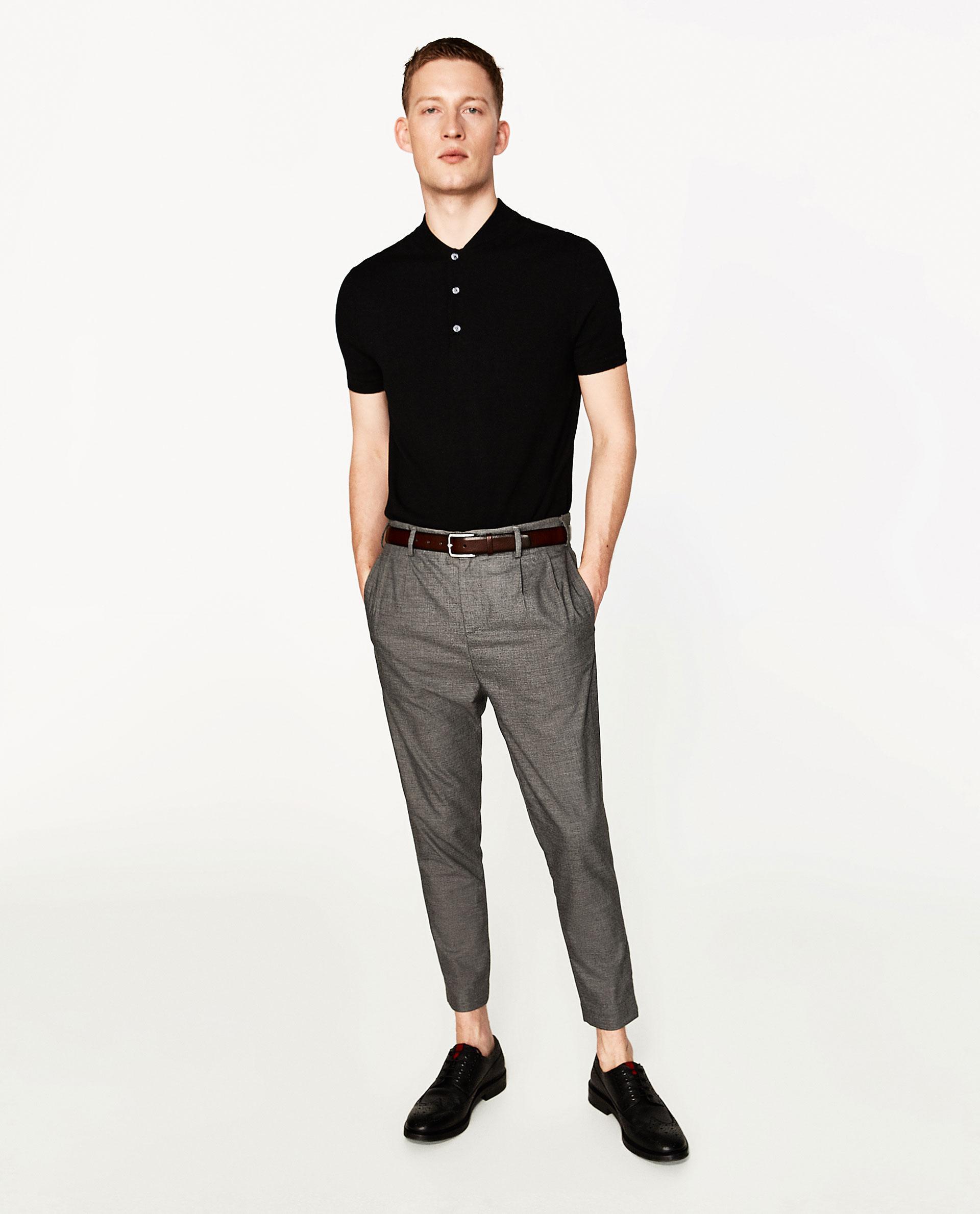 Zara viscose polo shirt in black for men lyst for Zara mens shirts sale