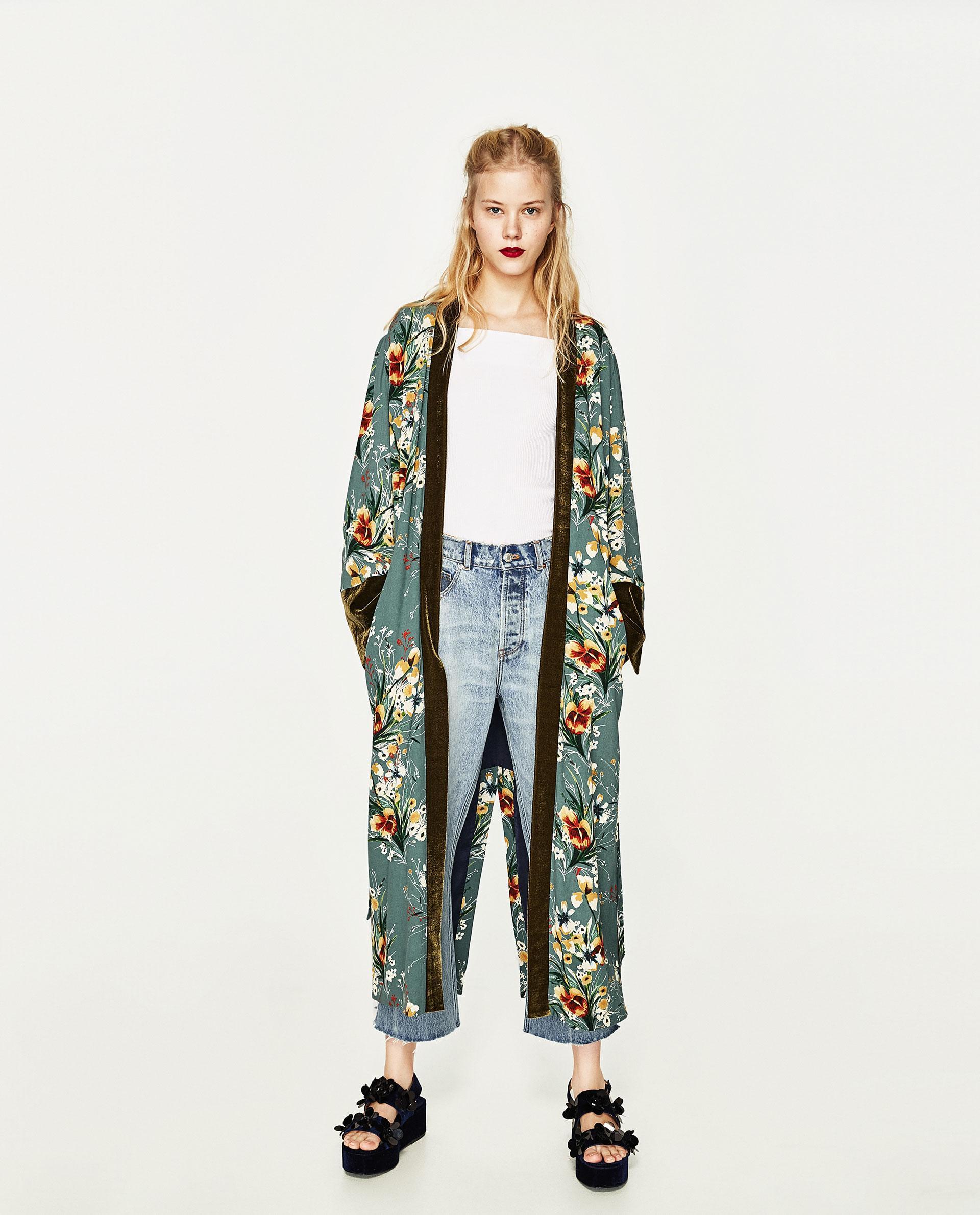 Zara Printed Kimono In Green Lyst