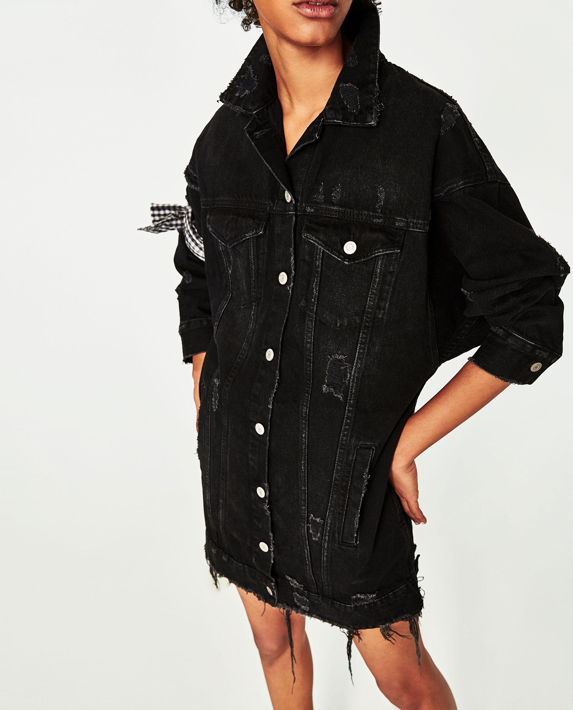 Zara Long Denim Jacket In Black Lyst