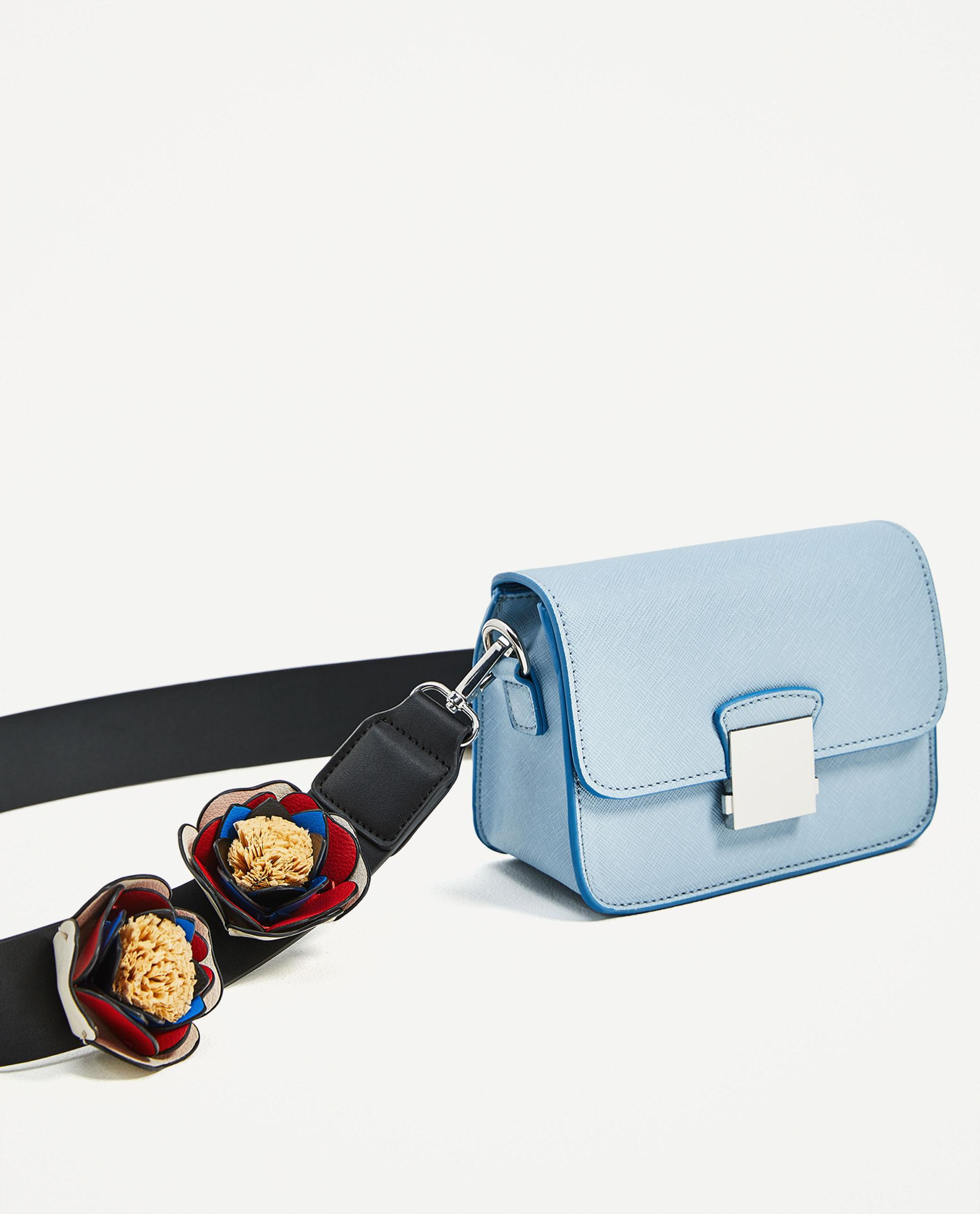Zara Crossbody Bag With Floral Strap In Blue | Lyst