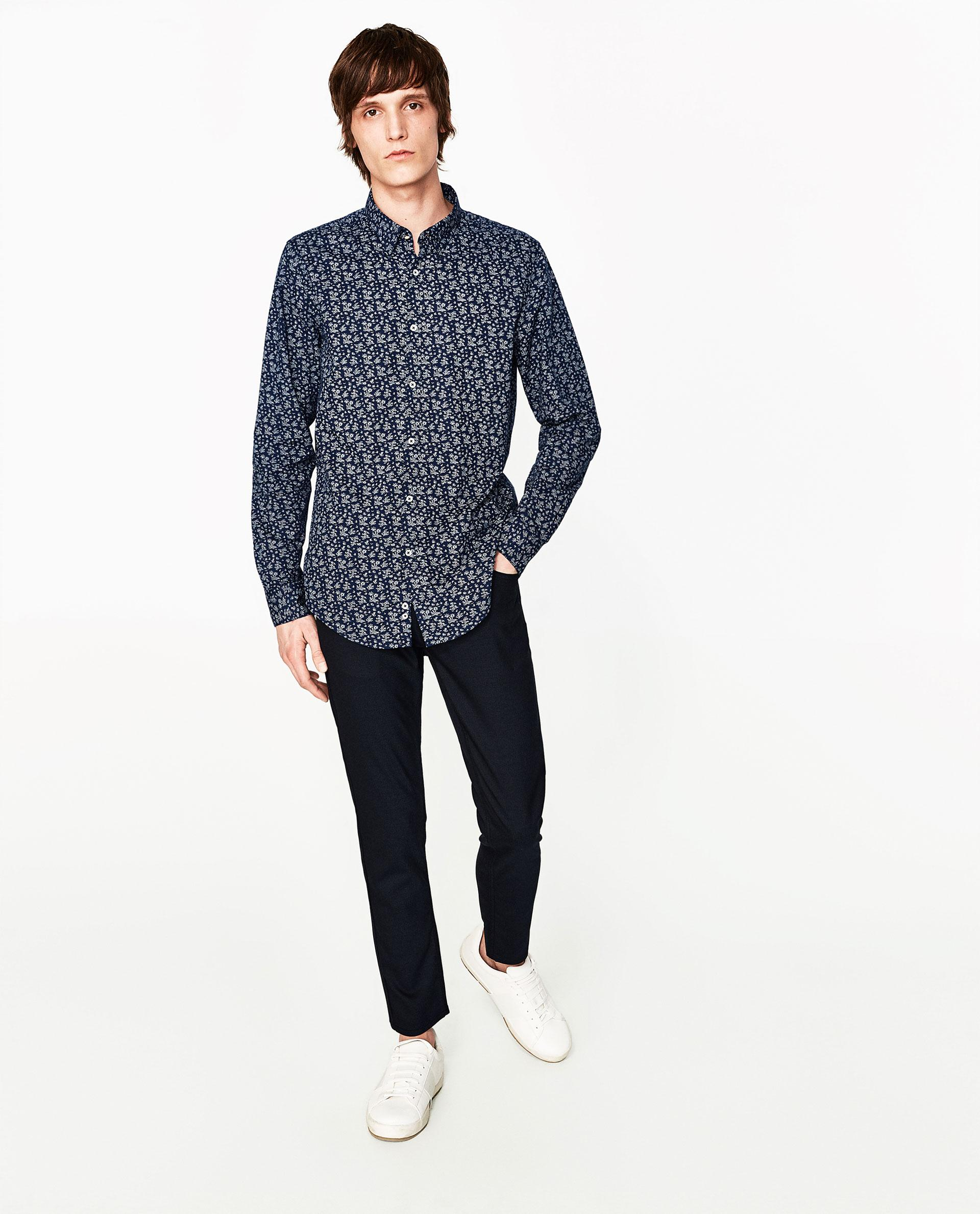 Zara floral shirt with concealed button in blue for men lyst for Zara mens floral shirt