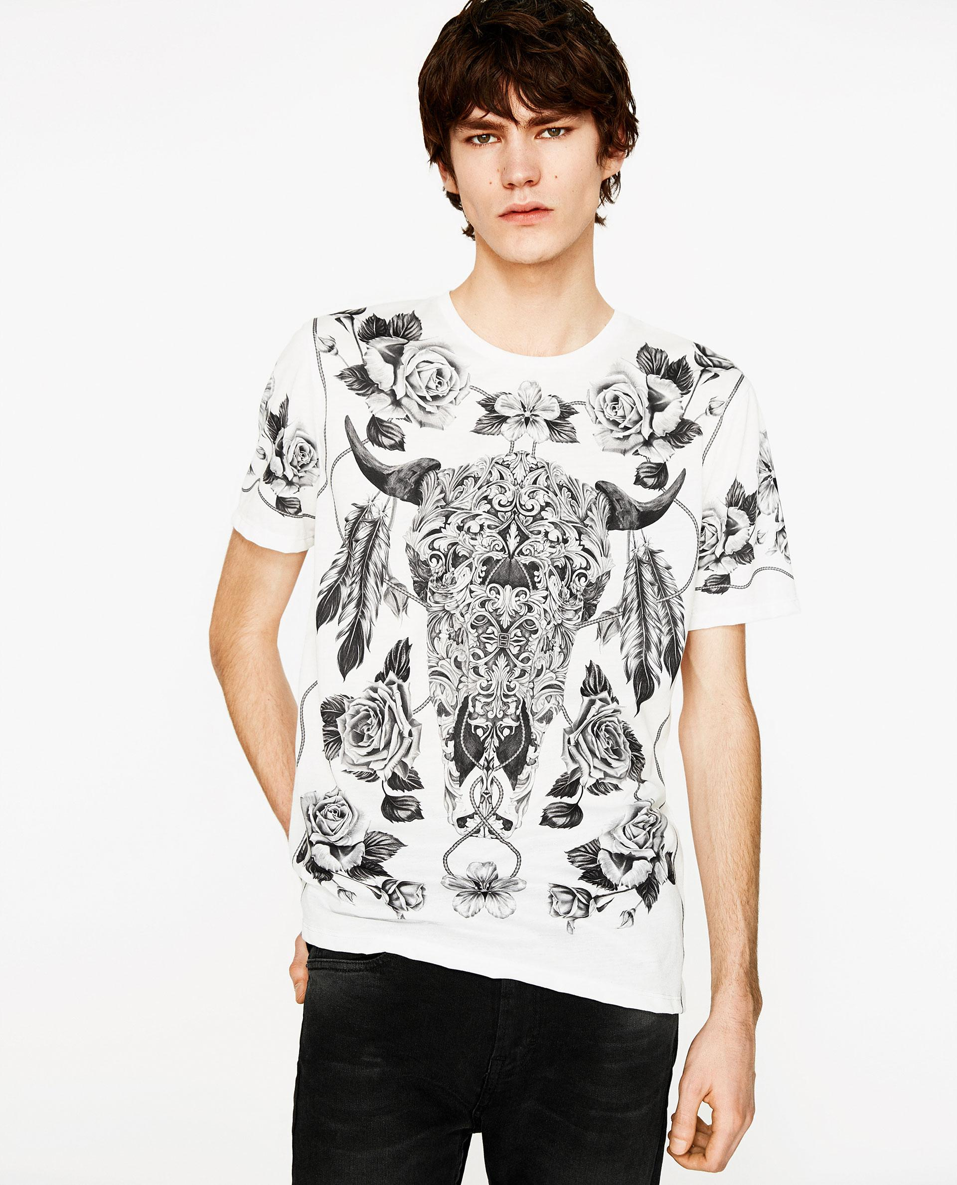 Zara printed t shirt in white for men lyst for Printed shirts for men