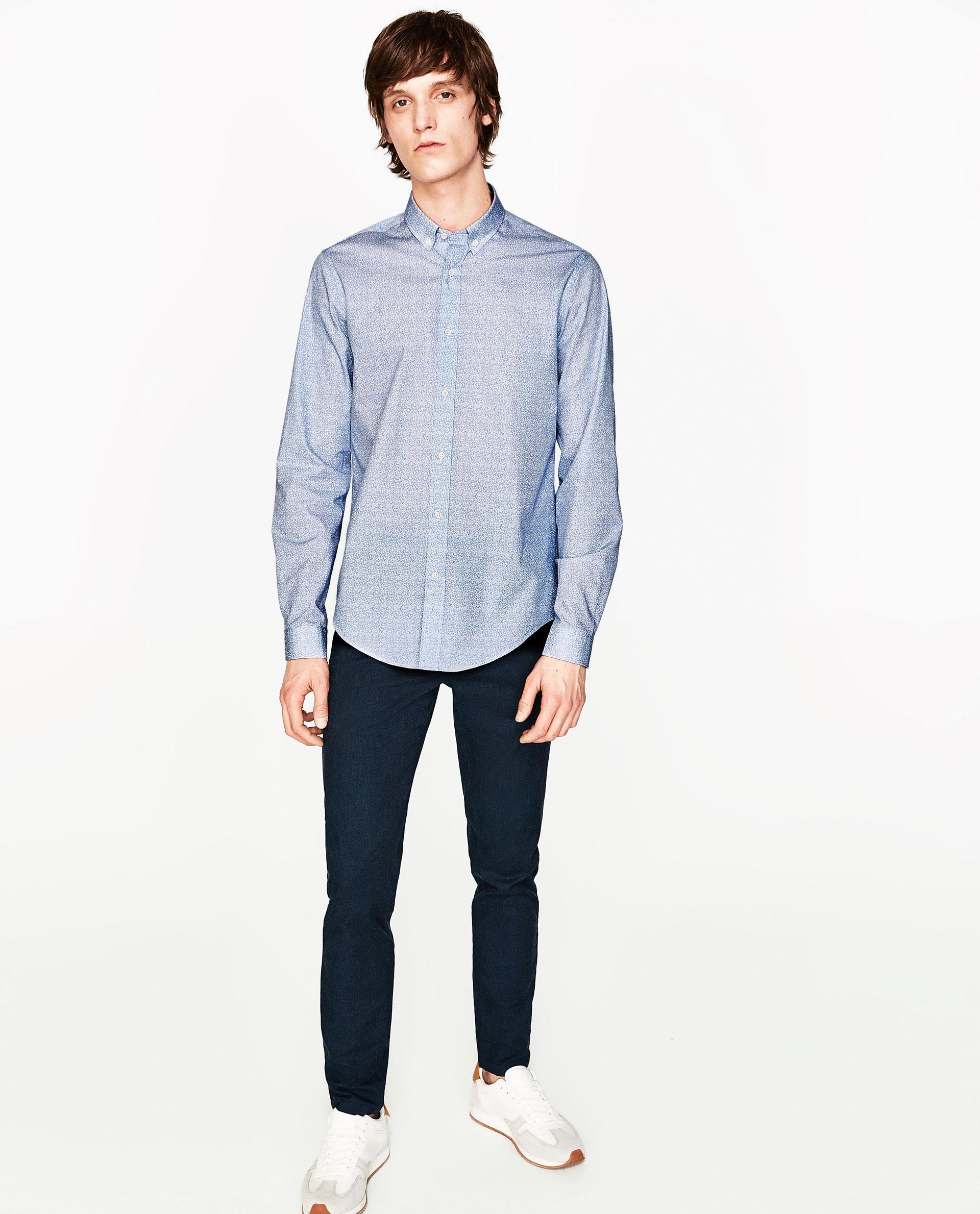 Zara sky blue floral shirt in blue for men lyst for Zara mens floral shirt